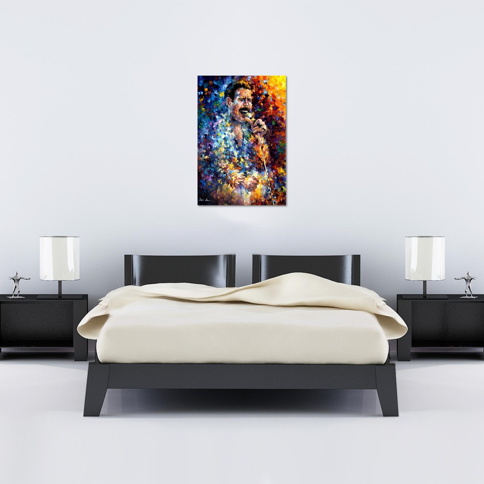 Leonid Afremov Freddie Mercury Canvas – World Art Pertaining To Freddie Mercury Wall Art (Image 12 of 20)
