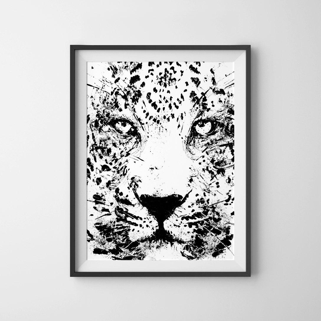 Leopard Art Animal Art Print Black And White Art Face Of A In Leopard Print Wall Art (View 15 of 20)