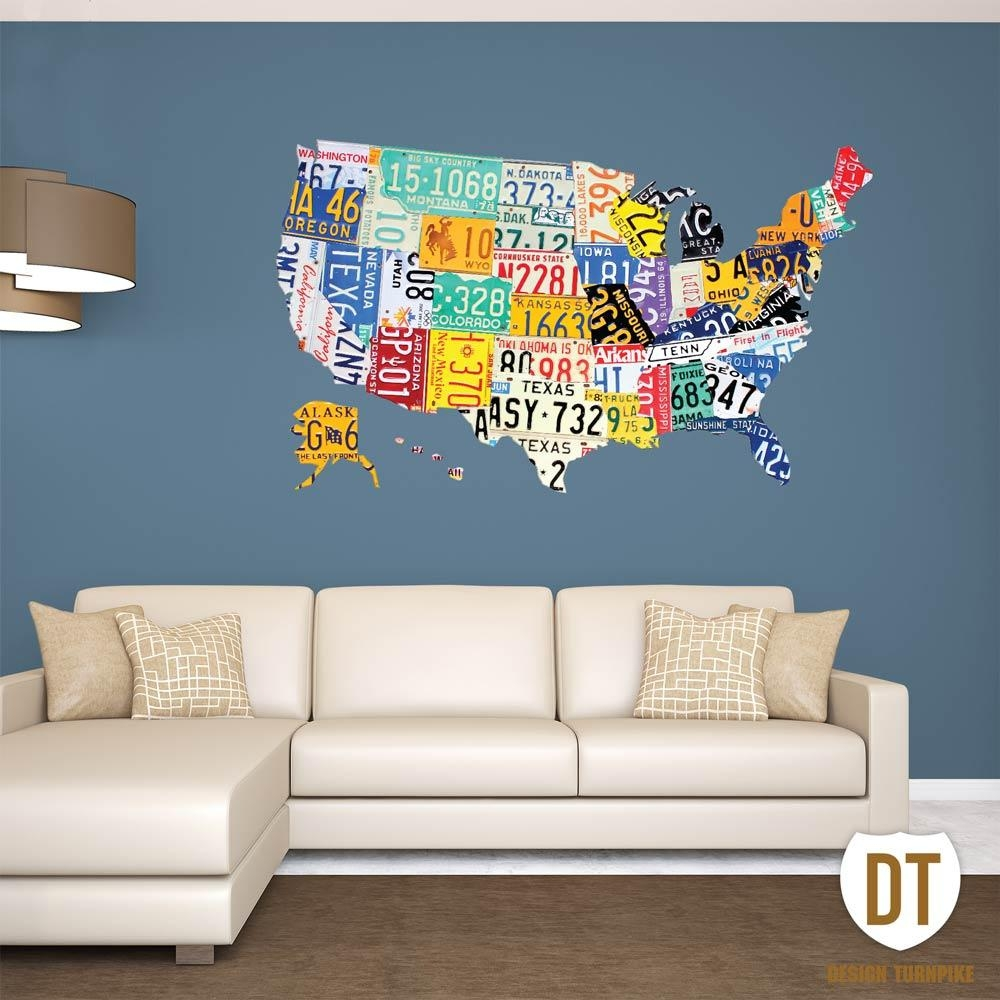 License Plate Wall Art | License Plate Usa Map Pertaining To Graphic Design Wall Art (View 2 of 20)