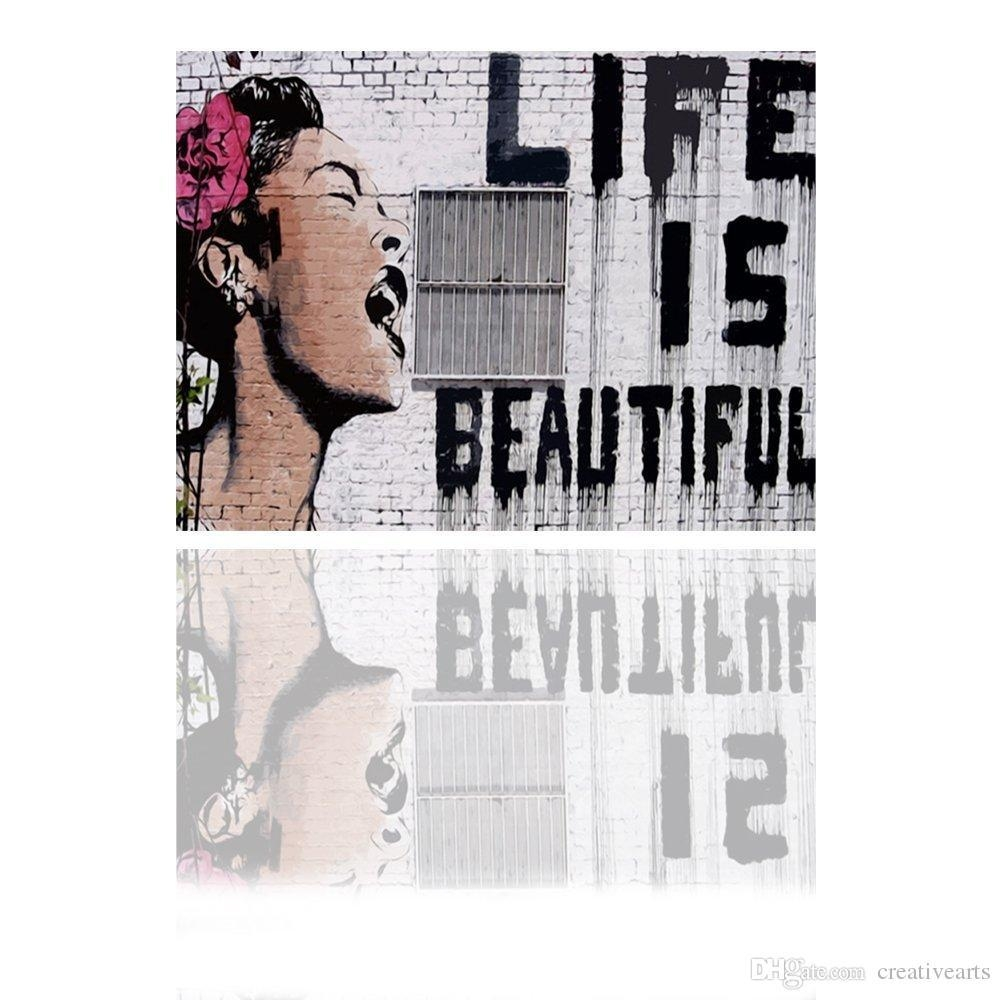 Life Is Beautiful Banksy Art Original Print On Canvas Graffiti Intended For Banksy Wall Art Canvas (View 13 of 20)