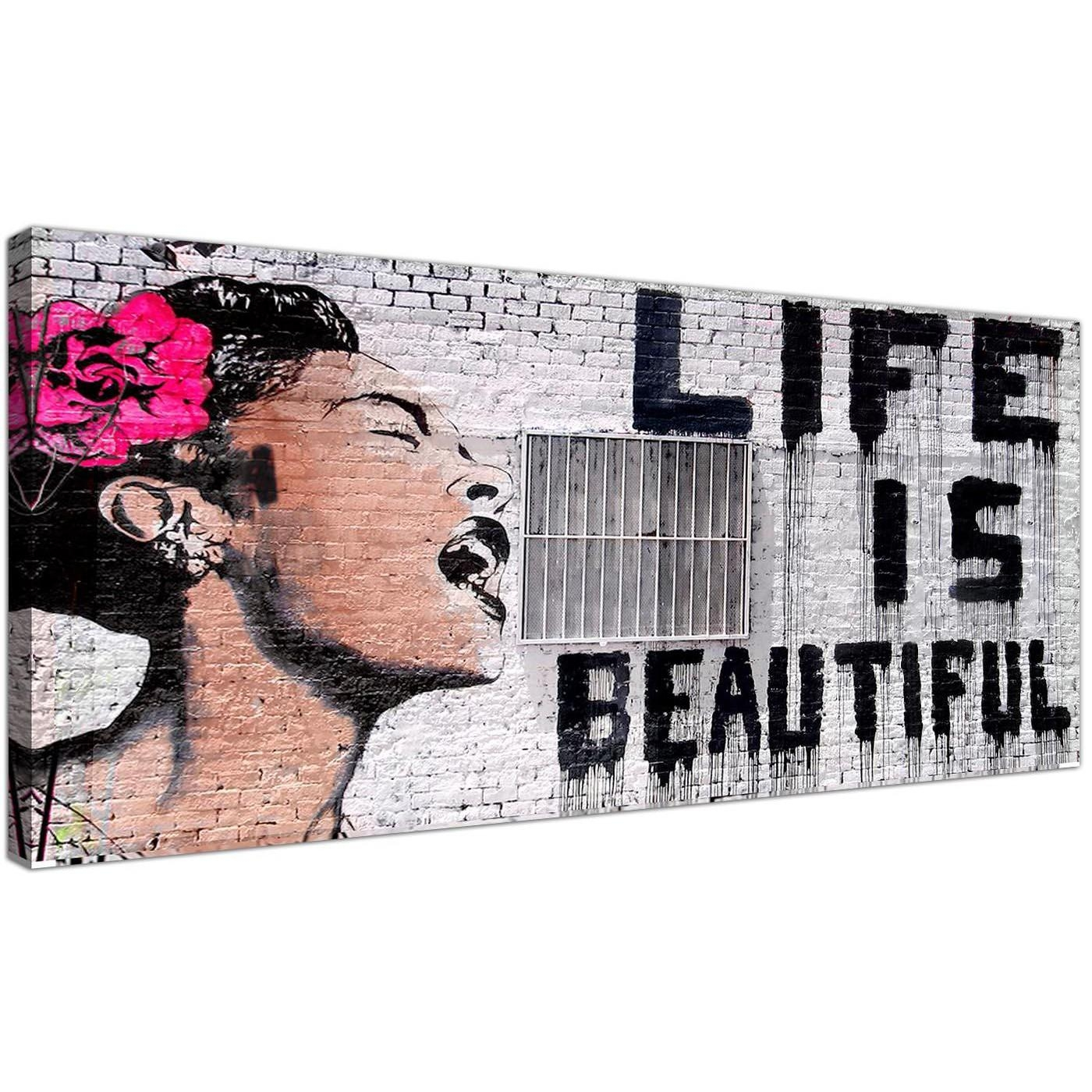 Life Is Beautiful Banksy Street Art Black White And Pink Graffiti With Banksy Canvas Wall Art (View 13 of 20)