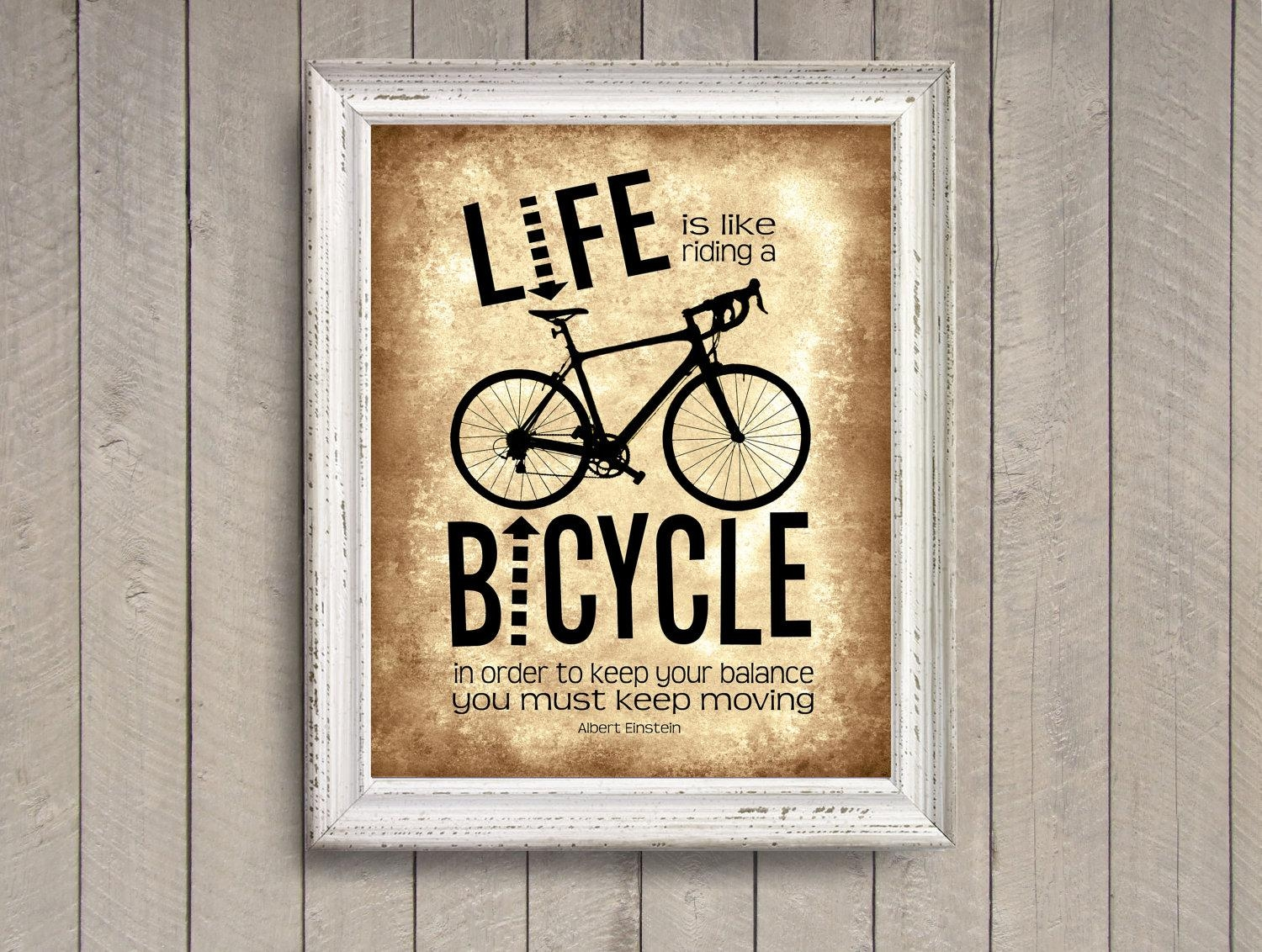 Life Is Like Riding A Bicycle Brown Photo Print Albert Pertaining To Cycling Wall Art (Image 10 of 20)