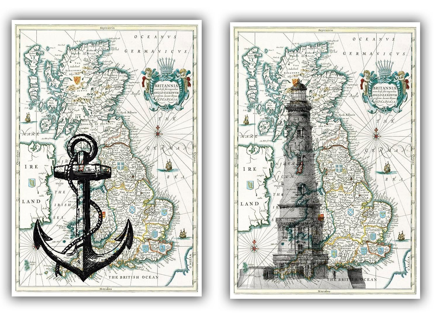Lighthouse And Anchor Print On Antique Map Of England Map For Antique Map Wall Art (View 17 of 20)