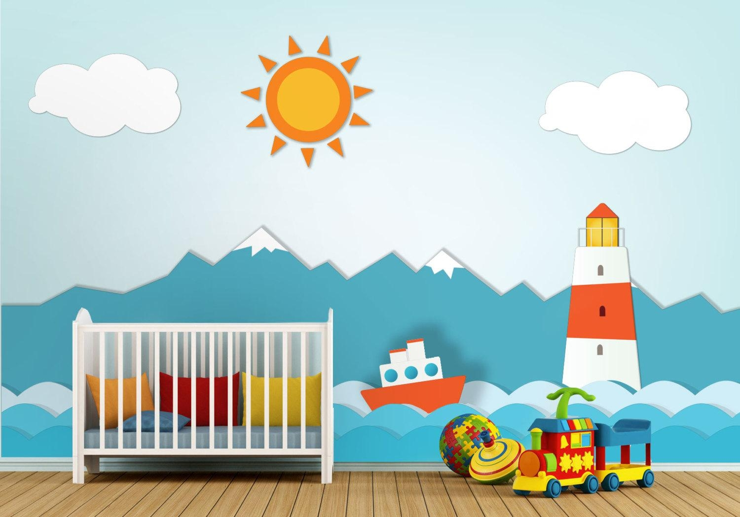 Lighthouse Nursery Wall Art – Moonwallstickers Within Nursery Wall Art (View 1 of 20)