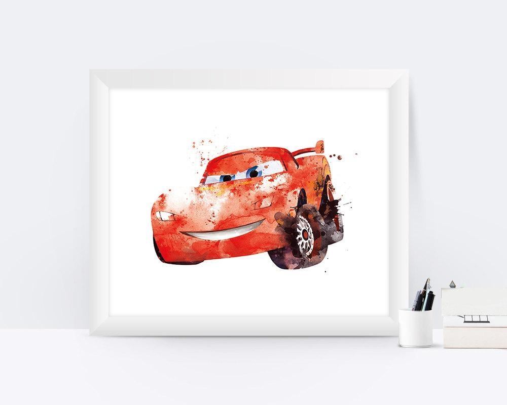 Lightning Mcqueen Print Watercolor Cars Disney Cars Art Print Throughout Lightning Mcqueen Wall Art (Image 15 of 20)