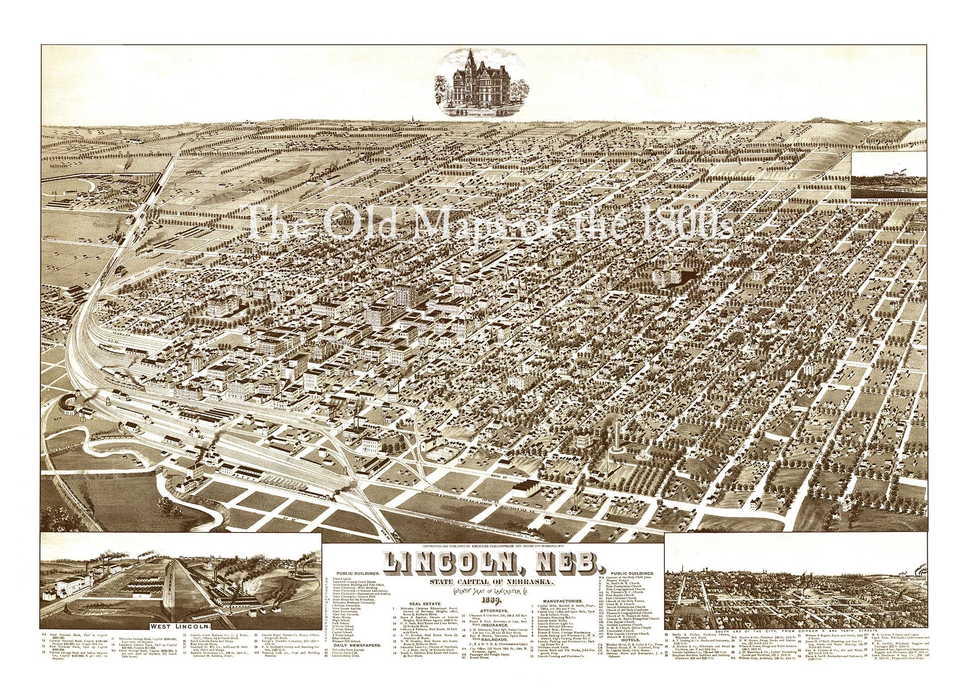 Lincoln, Nebraska In 1889 – Bird's Eye View Map, Aerial, Panorama Within Antique Map Wall Art (View 9 of 20)