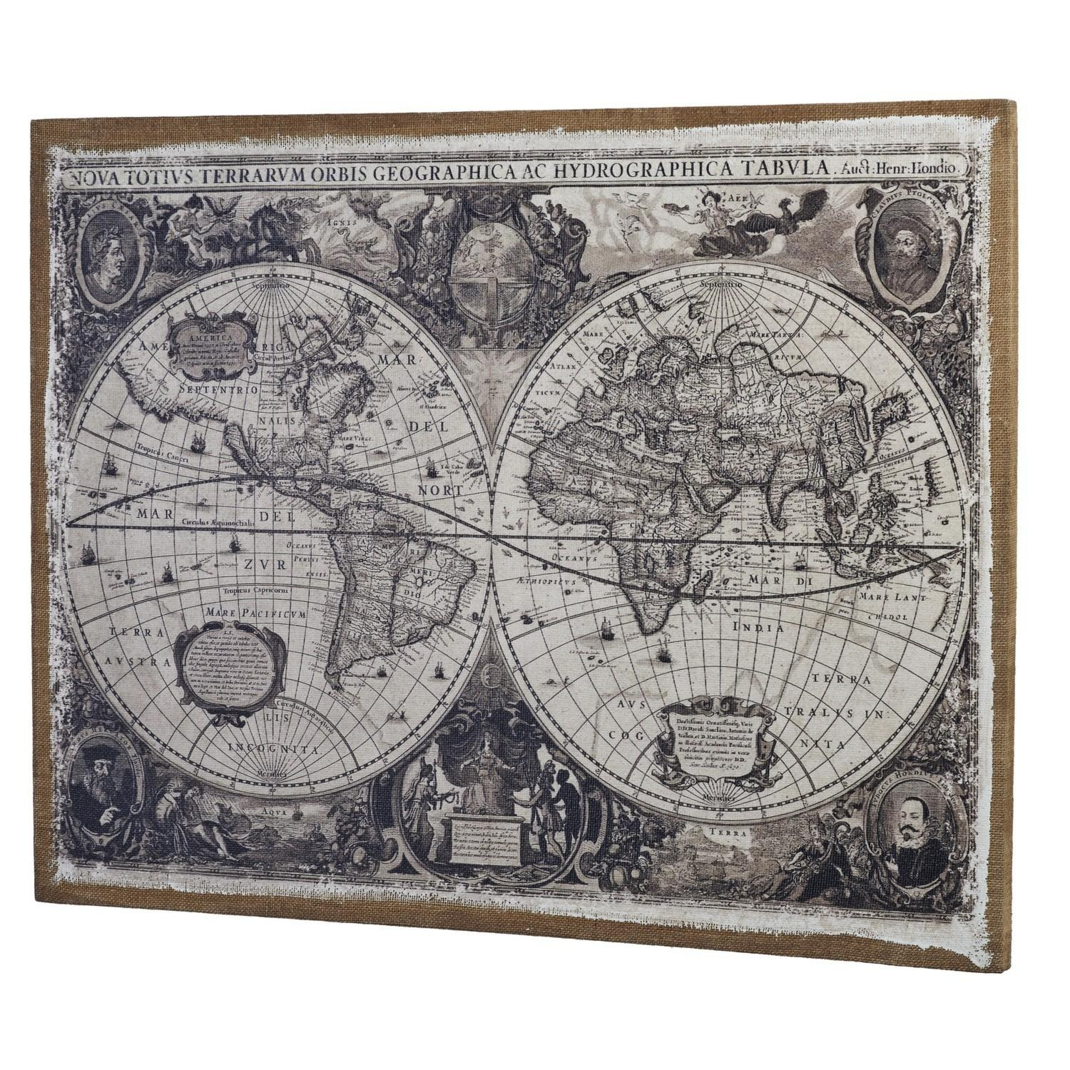 Linen World Map Wall Art Intended For Maps For Wall Art (View 14 of 20)