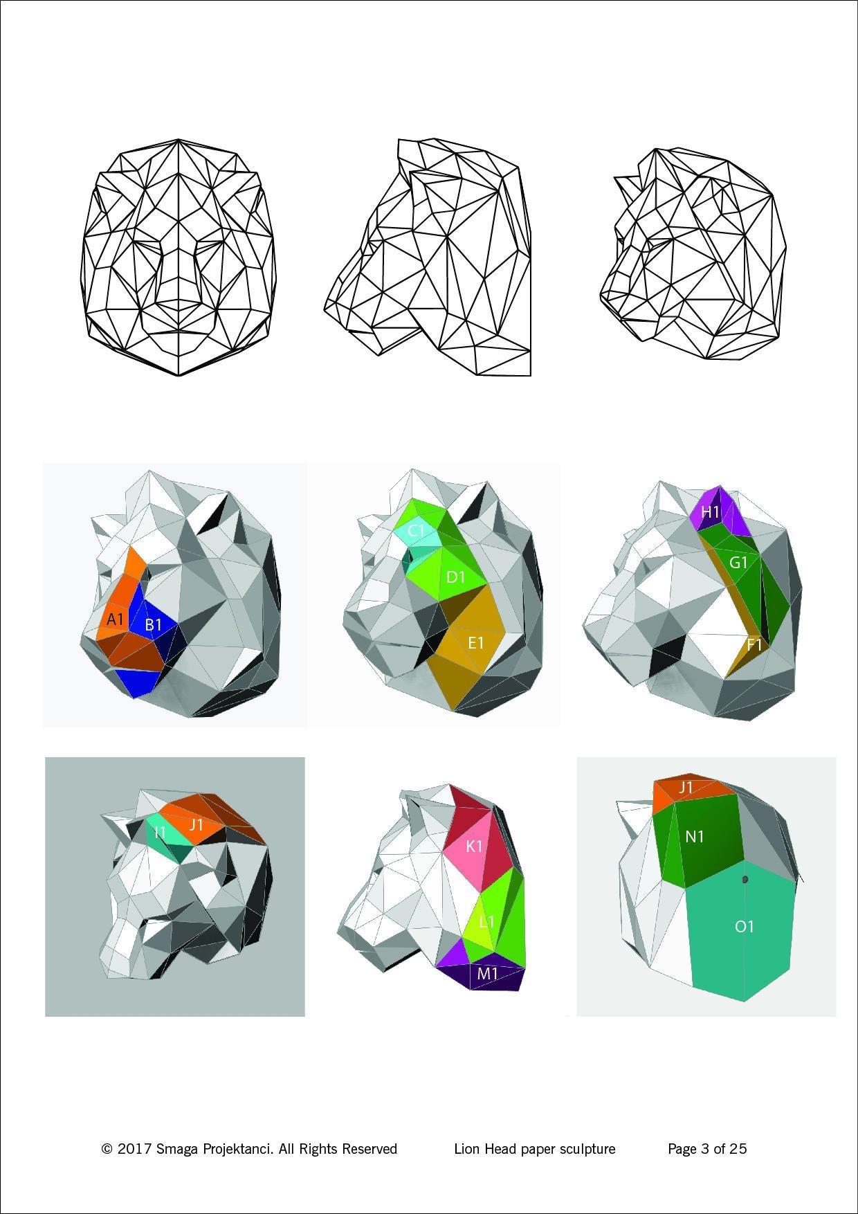 Lion Head – Printable Pdf Pattern – Smaga Projektanci Inside Pattern Wall Art (View 13 of 20)