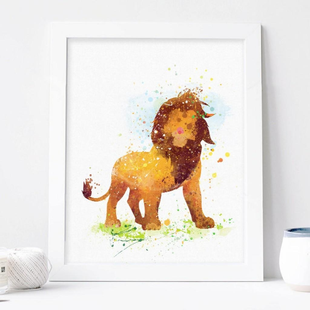 Lion King Watercolor Print, Disney Baby Boy Nursery Decor, Wall For Lion Wall Art (Image 9 of 20)