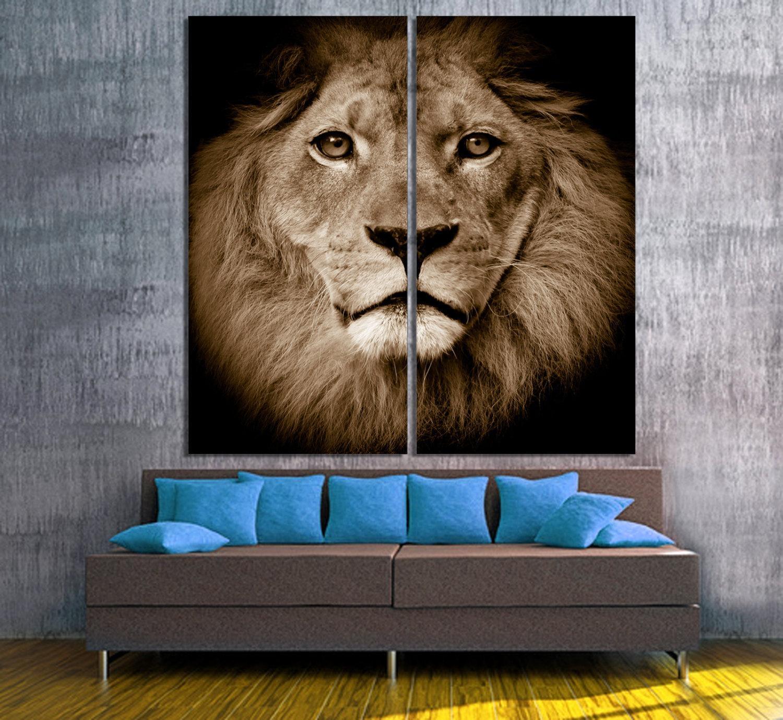 Lion Portrait 2 Panel Split Diptych Canvas Print (View 12 of 20)