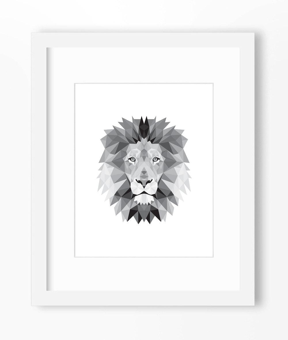 Lion Print Lion Art Lion Wall Art Geometric Lion Print With Regard To Lion Wall Art (Image 11 of 20)
