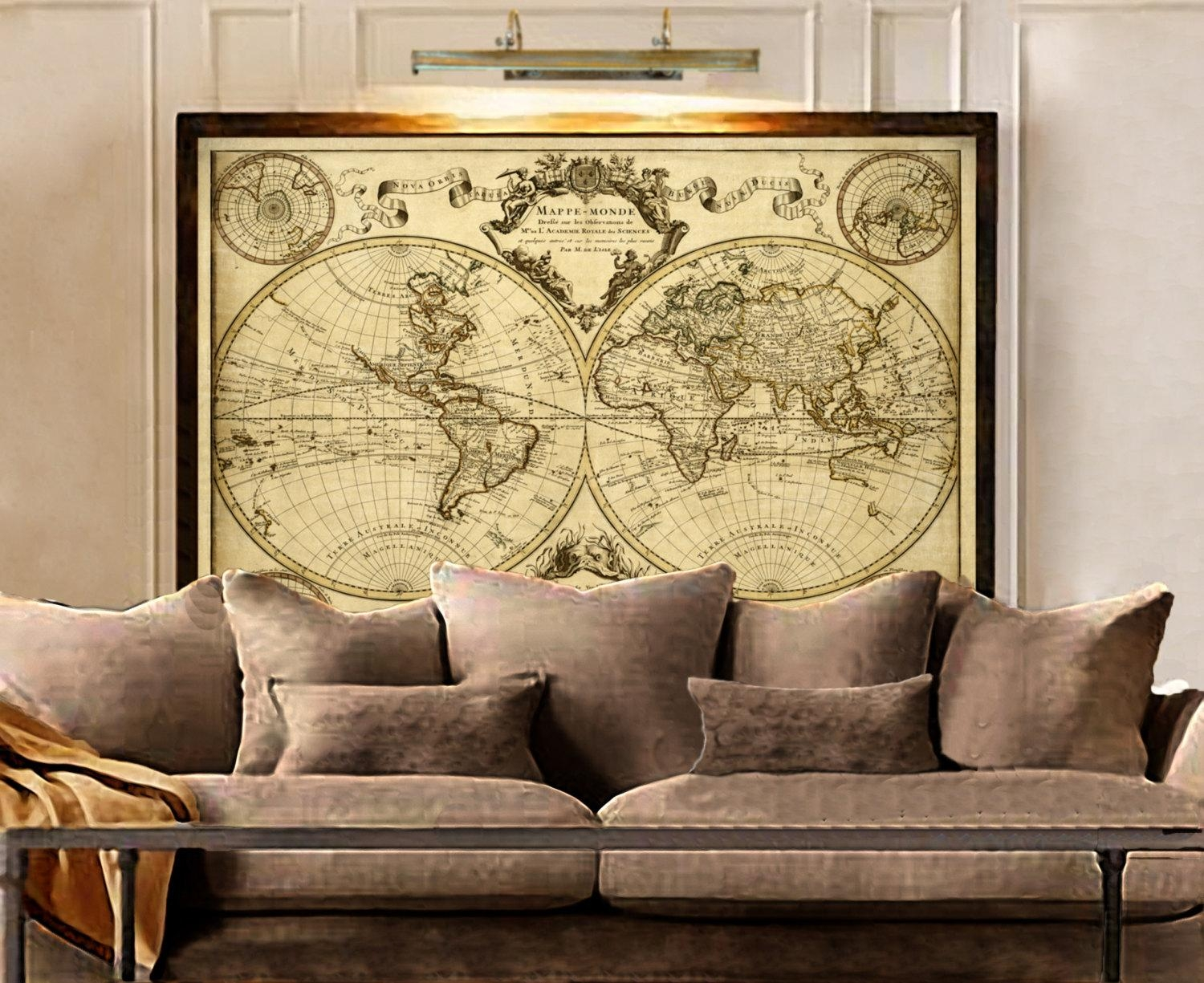 20 best framed world map wall art wall art ideas lisles 1720 old world map historic map antique style in framed world map wall gumiabroncs Image collections