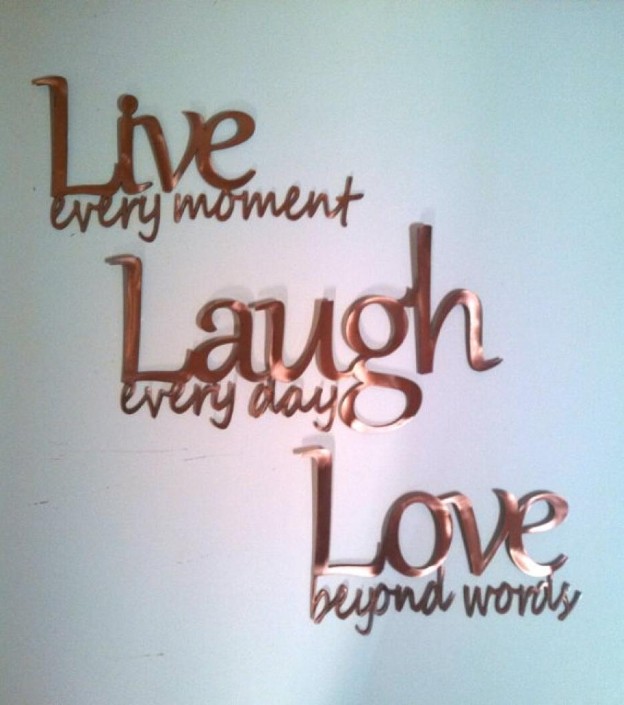 "Live Laugh Love"" Inspirational Message Sign Metal Wall Art 26"" L Throughout Live Love Laugh Metal Wall Art (View 11 of 20)"
