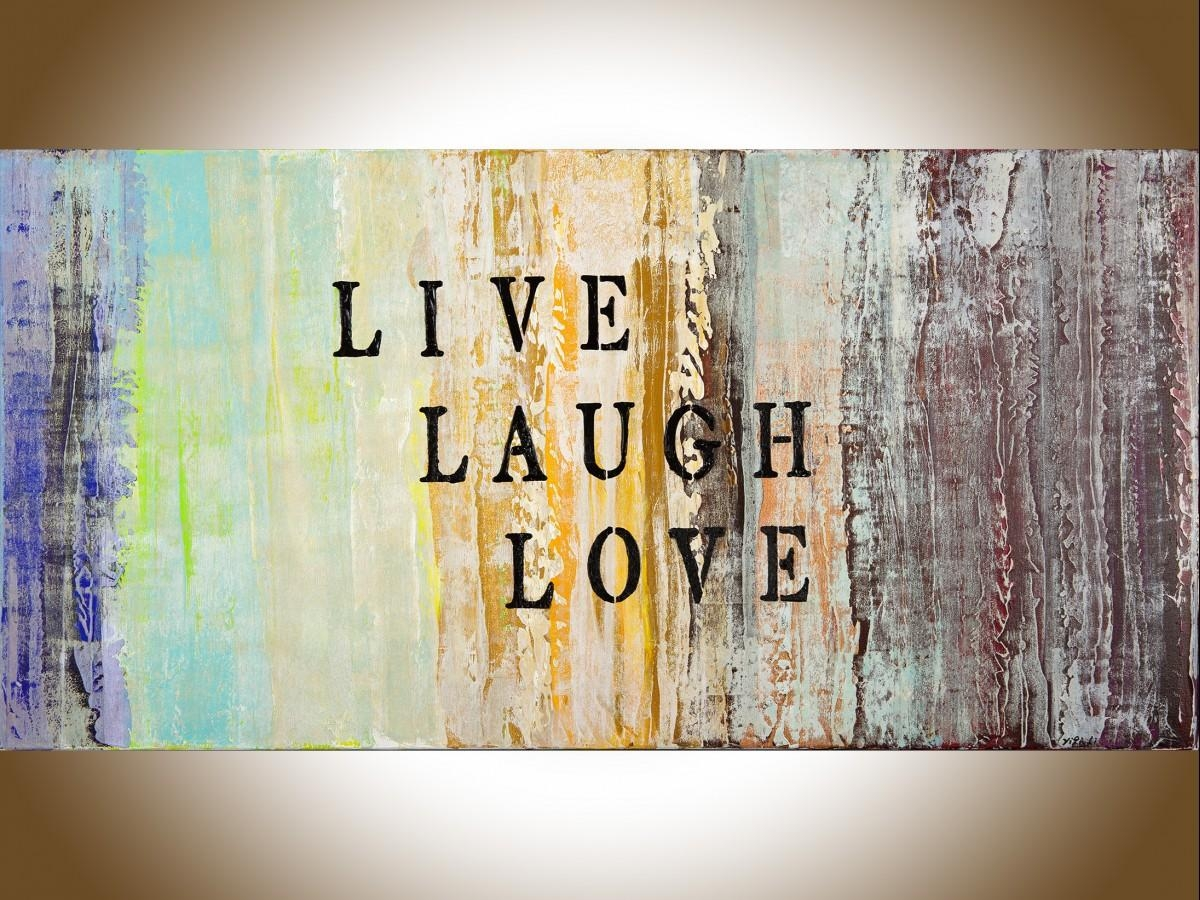 "Live Laugh Loveqiqigallery 48""x24"" Abstract Painting Grey For Blue And Cream Wall Art (View 5 of 20)"