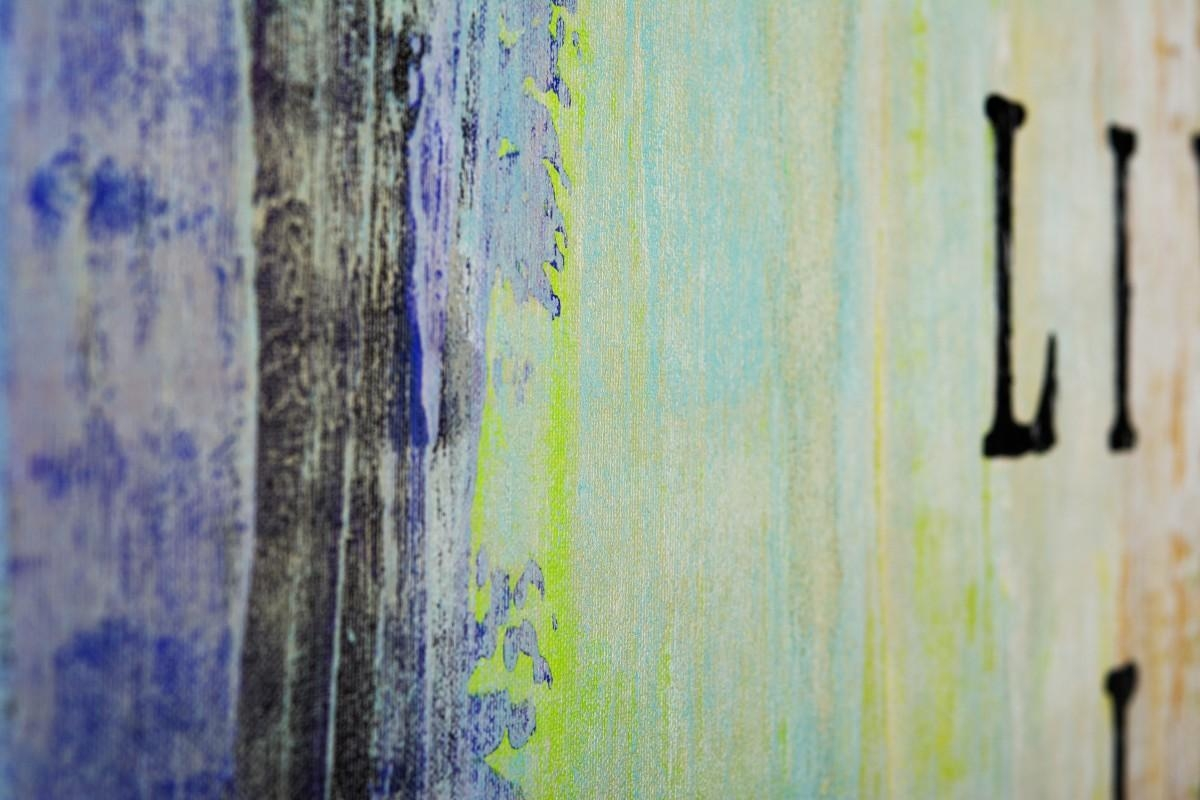 """Live Laugh Loveqiqigallery 48""""x24"""" Abstract Painting Grey Intended For Blue And Cream Wall Art (Image 15 of 20)"""