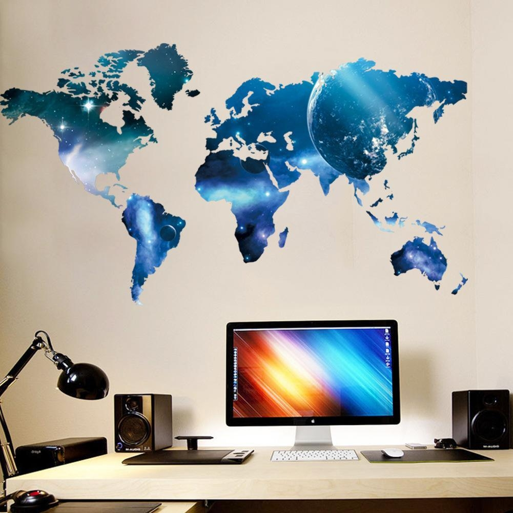 Living Bedroom Wall Art Mural Decor Sticker Blue Planet World Map Regarding World Wall Art (Image 13 of 20)