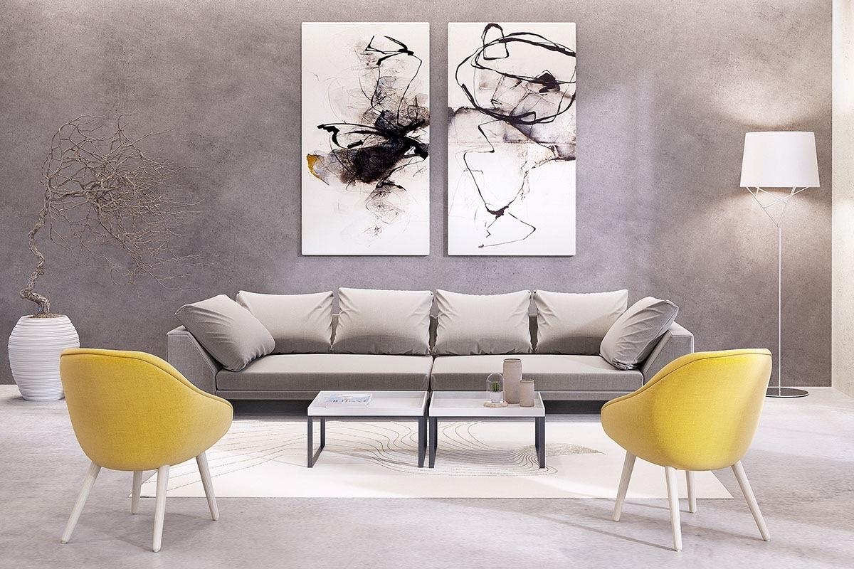 Living Room: Abstract Matching Set Wall Art Nice Floor Lamp Nice With Matching Wall Art (Image 6 of 20)