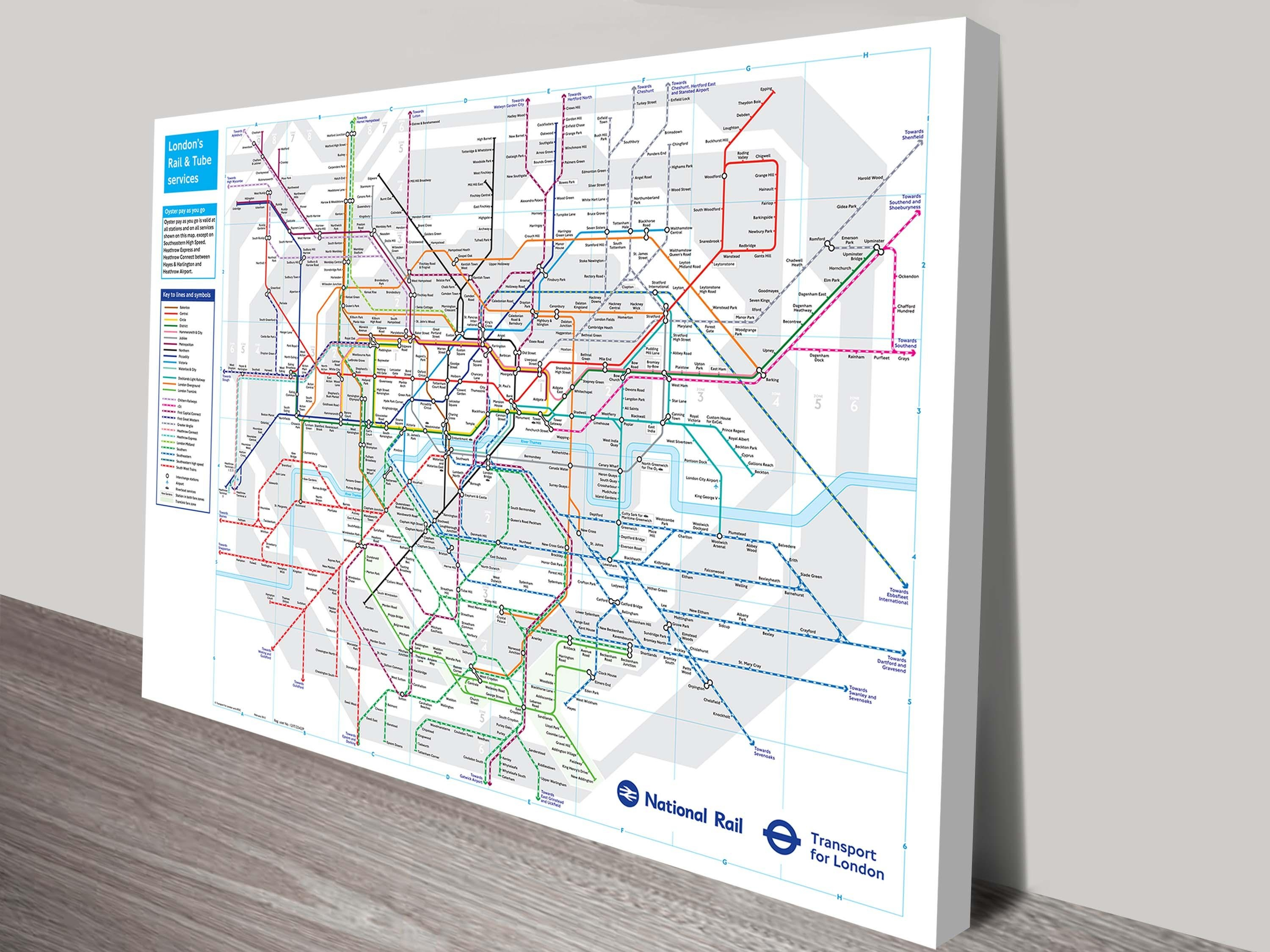 London Underground Tube Map Canvas Wall Art Throughout Maps For Wall Art (View 5 of 20)