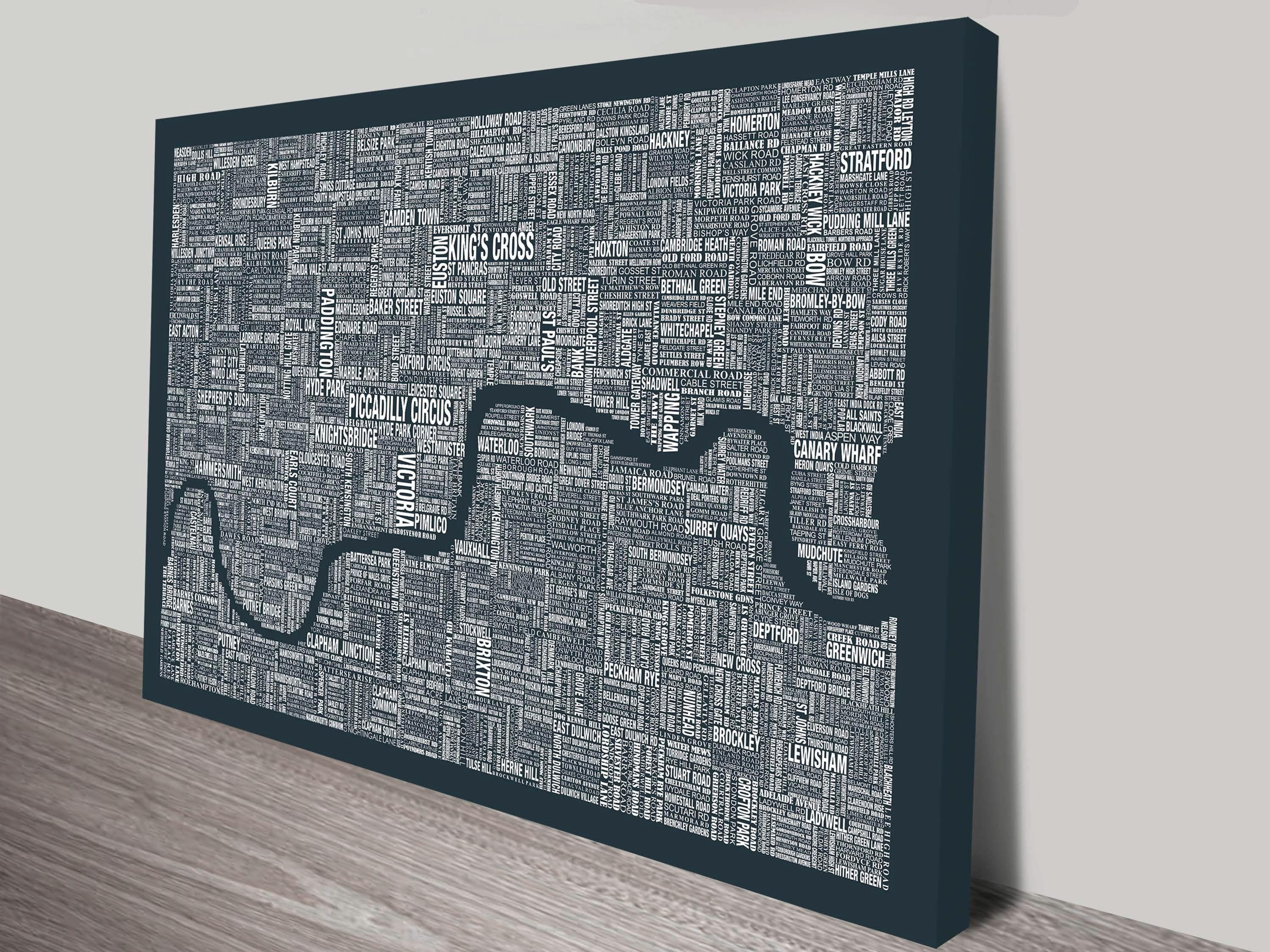 London Word Map Wall Artblue Horizon Prints Intended For Maps For Wall Art (View 7 of 20)