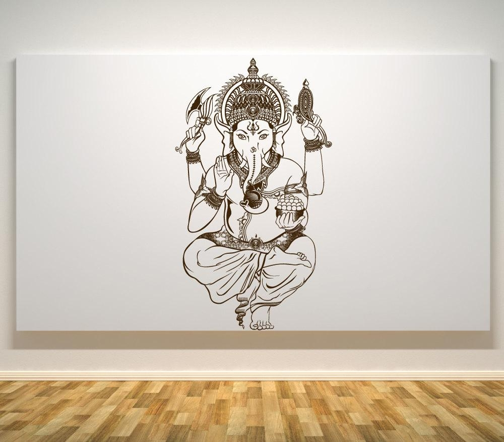 Lord Ganesh Wall Decal Ganesh Hindu God Car Decals Wall In Ganesh Wall Art (View 19 of 20)