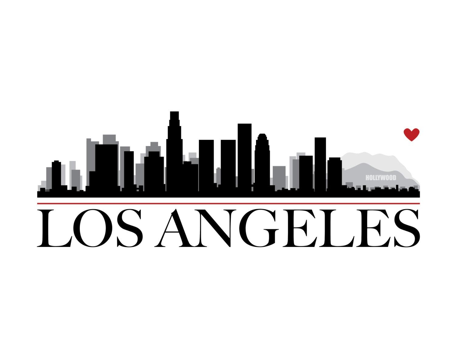 Los Angeles City Skyline With Heart Diy Printable Wall Art Pertaining To Los Angeles Wall Art (View 13 of 20)