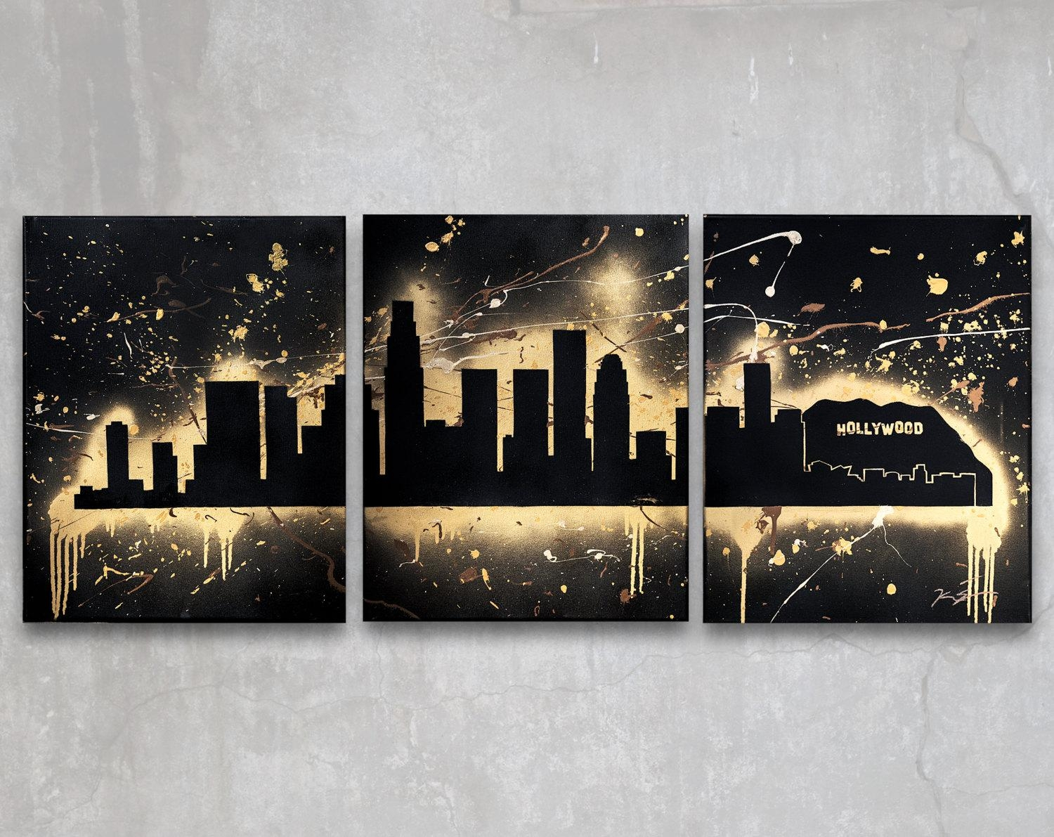 Los Angeles // Custom Original Painting // Modern Triptych Throughout Los Angeles Wall Art (Image 9 of 20)