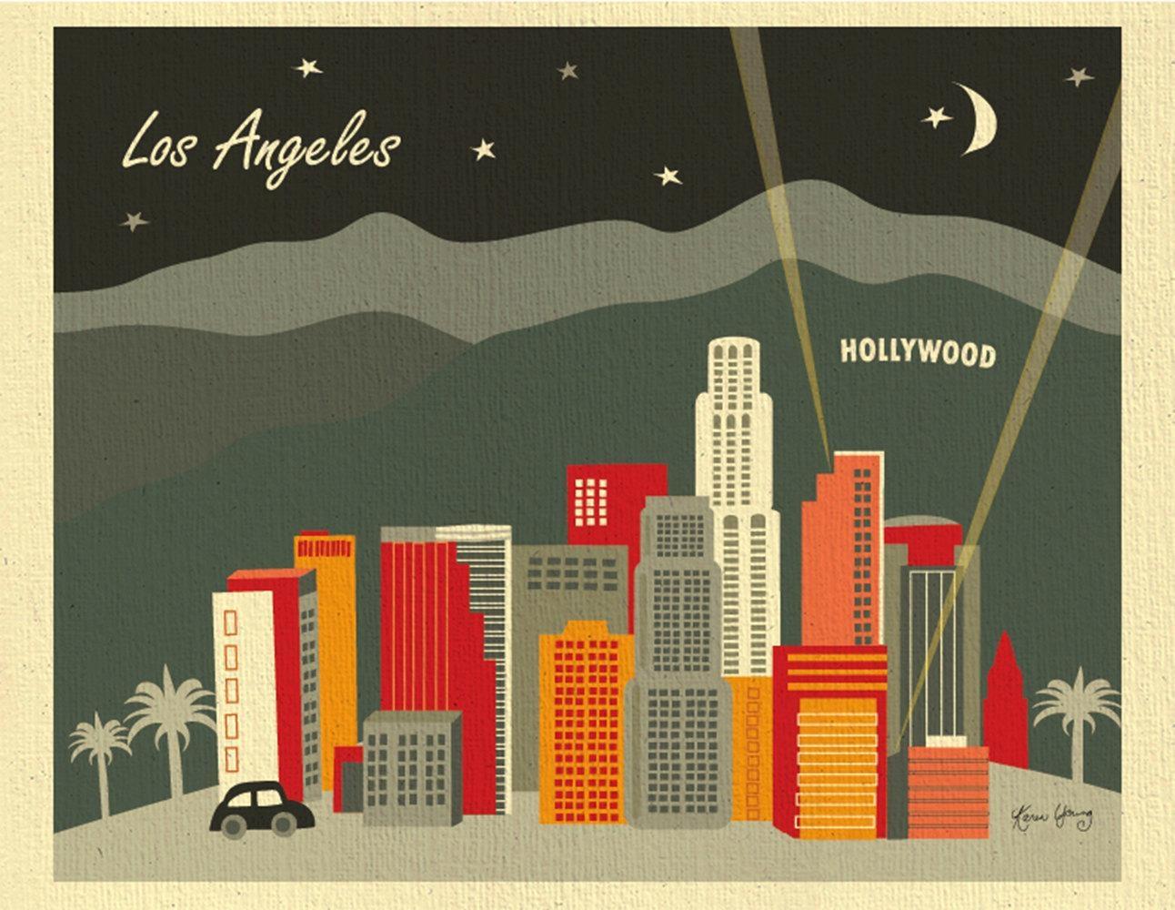 Los Angeles Skyline Art Print Hollywood Wall Art La Art Regarding Los Angeles Wall Art (Image 12 of 20)