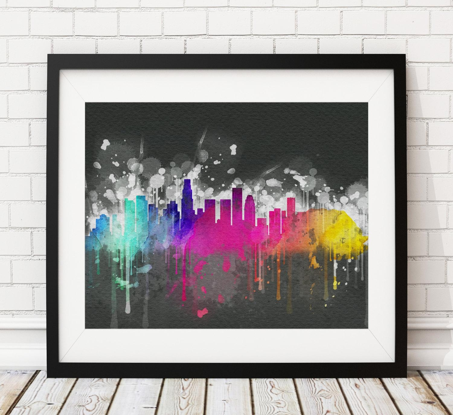 Los Angeles Skyline Print, Los Angeles Art, Los Angeles Print, Los Intended For Los Angeles Wall Art (View 12 of 20)