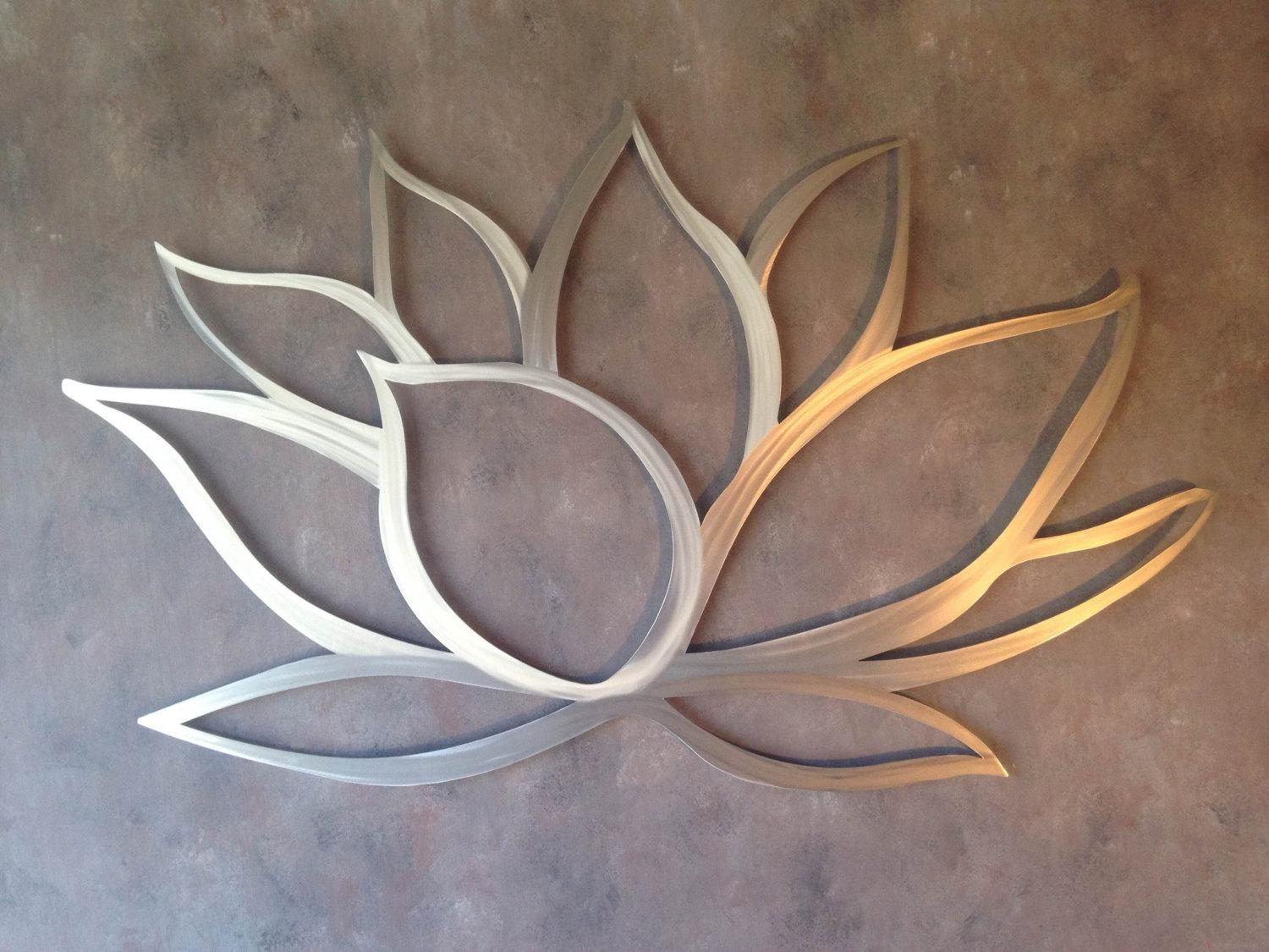 Lotus Flower Metal Wall Art Ideas Also Bathroom Picture Regarding Metal Wall Art For Bathroom (Image 10 of 20)