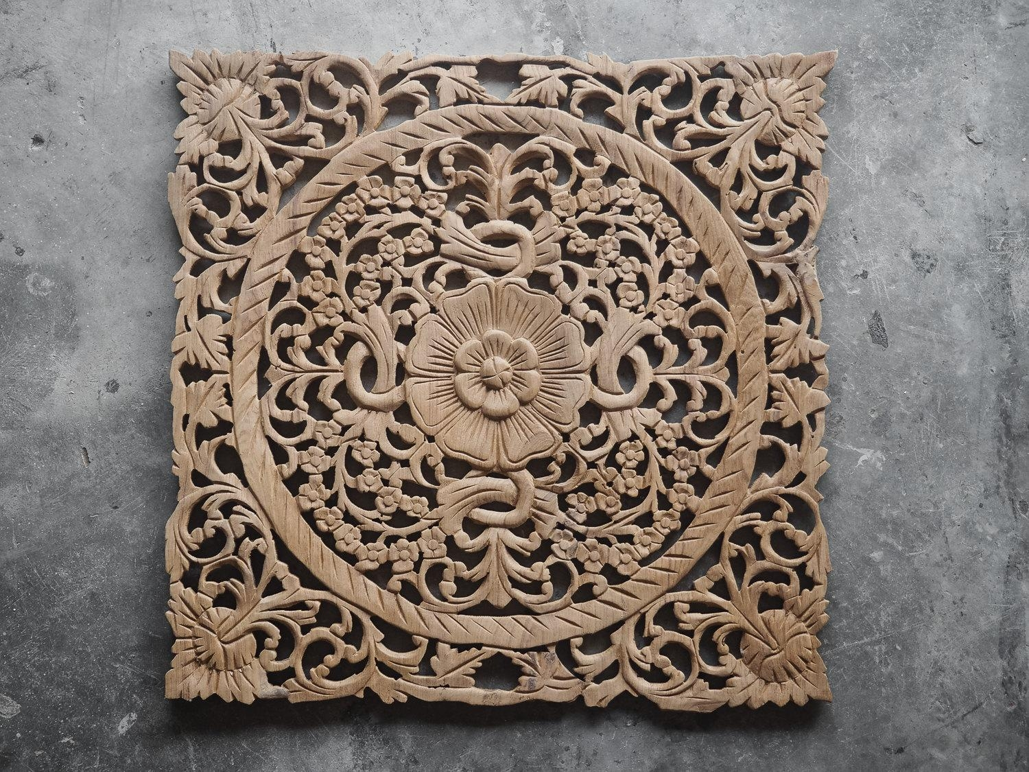 Lotus Wood Carving Plaque Oriental Decor – Siam Sawadee For Wood Carved Wall Art Panels (Image 10 of 20)