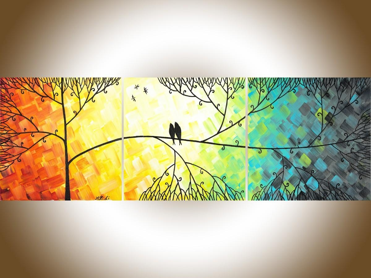 "Love And Romanceqiqigallery 36""x12"" Original Tree And Love With Yellow And Blue Wall Art (Image 9 of 20)"