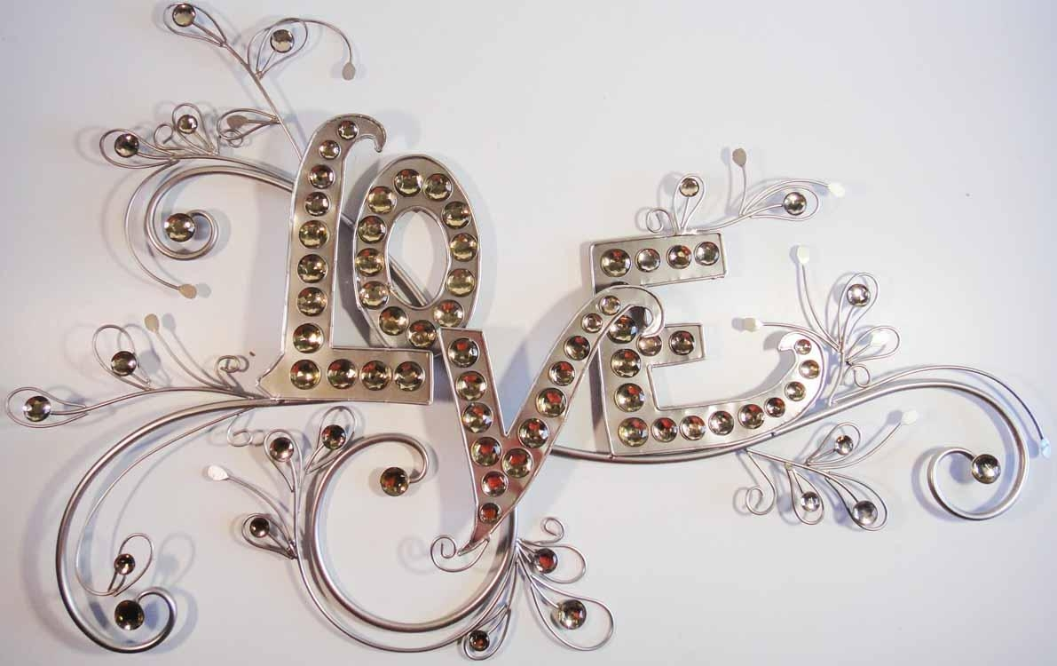 Love Crystal And Metal Wall Art | Wallartideas Regarding Love Wall Art (Image 6 of 20)