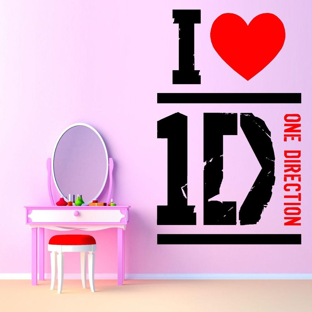Love One Direction Vinyl Wall Art Sticker Room Decal 1D Music Pertaining To Music Themed Wall Art (Image 10 of 20)