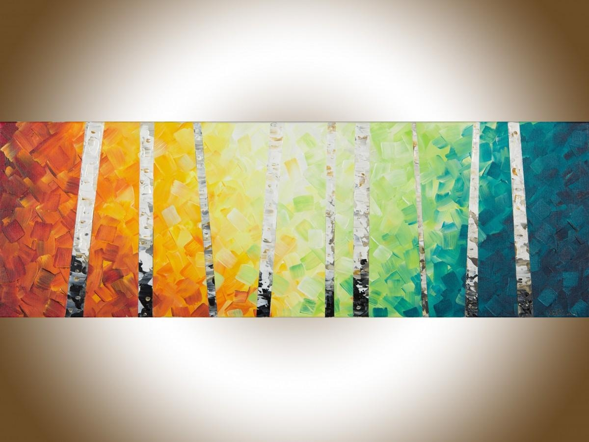 """Lucky Number 9Qiqigallery 36"""" X 12"""" Colourful Painting Narrow With Yellow And Blue Wall Art (Image 10 of 20)"""