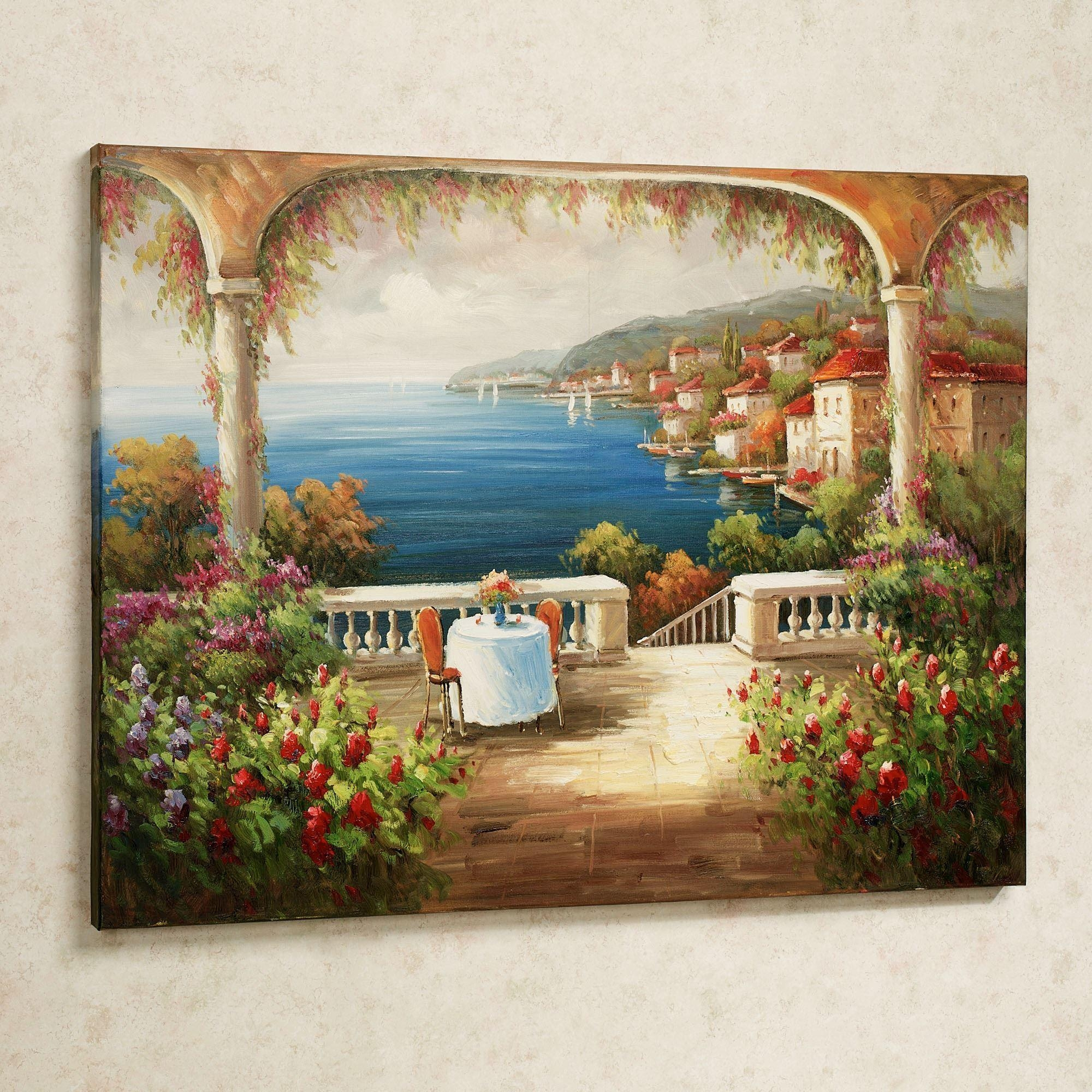 Lunch With A View Handpainted Canvas Art Inside Tuscany Wall Art (Image 5 of 20)