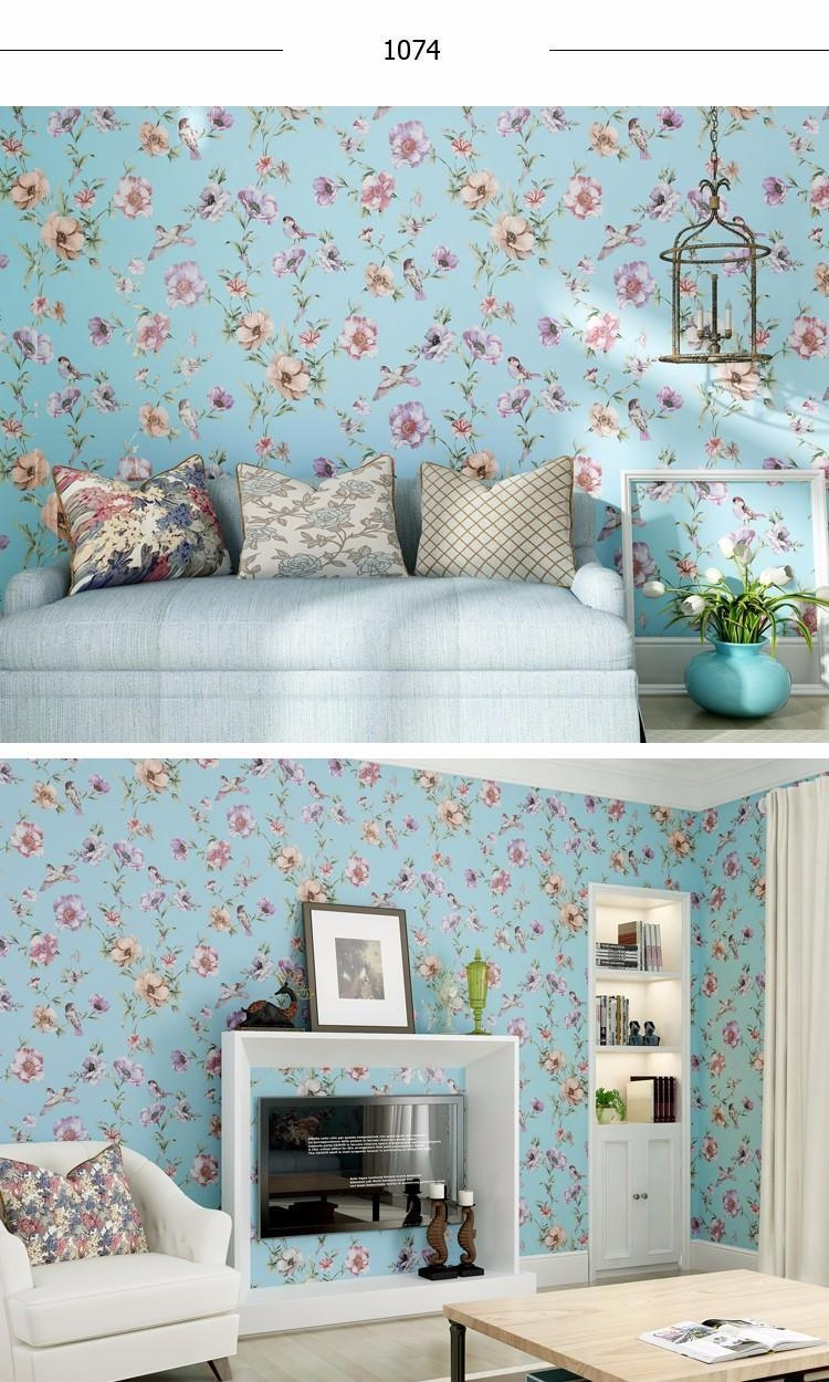 Luxury Chinese Classic Flowers Birds Wallpaper Romantic Country Throughout Country Style Wall Art (Image 17 of 20)