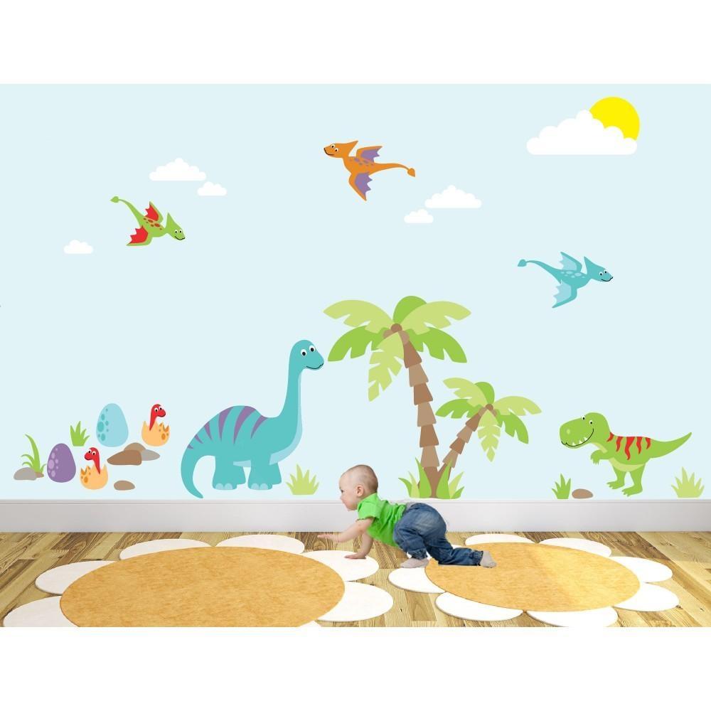 Luxury Dinosaur Nursery Wall Art Sticker Scenes Inside Dinosaur Wall Art For Kids (Image 13 of 20)