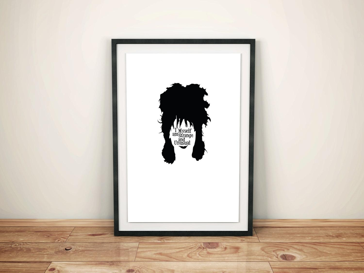 Lydia Deetz Beetlejuice Character Quote Poster // Tim Burton With Tim Burton Wall Decals (View 12 of 20)