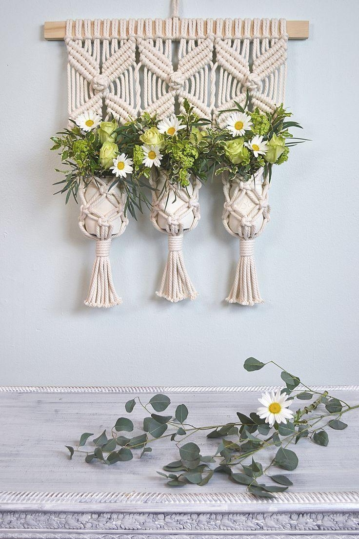 Macrame Wall Hanging Plant Holder Decor Ideaamy Zwikel Studio Throughout Floral & Plant Wall Art (Image 12 of 20)