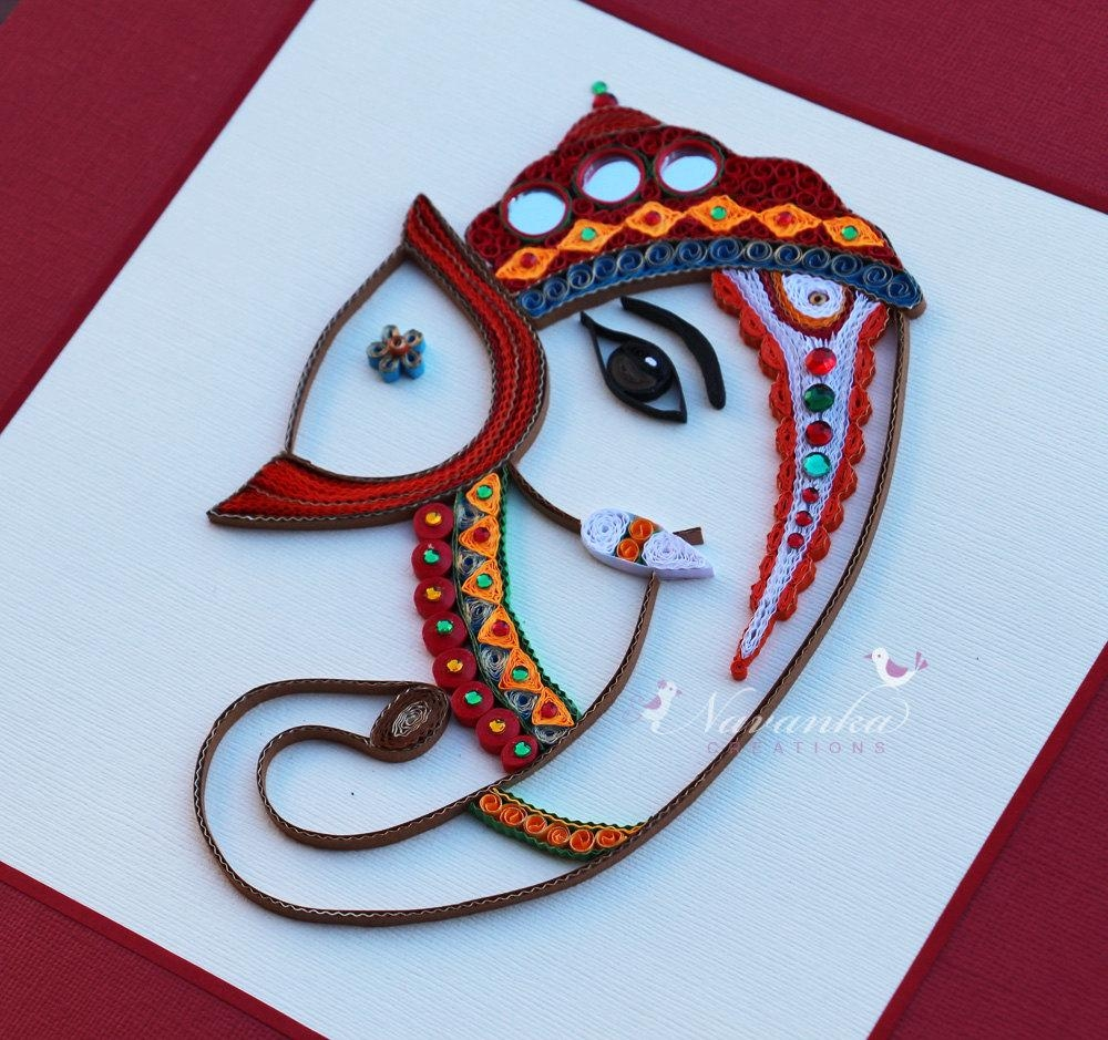 Made To Order Handmade Paper Quilling Lord Ganesha Framed With Regard To Ganesh Wall Art (Image 11 of 20)