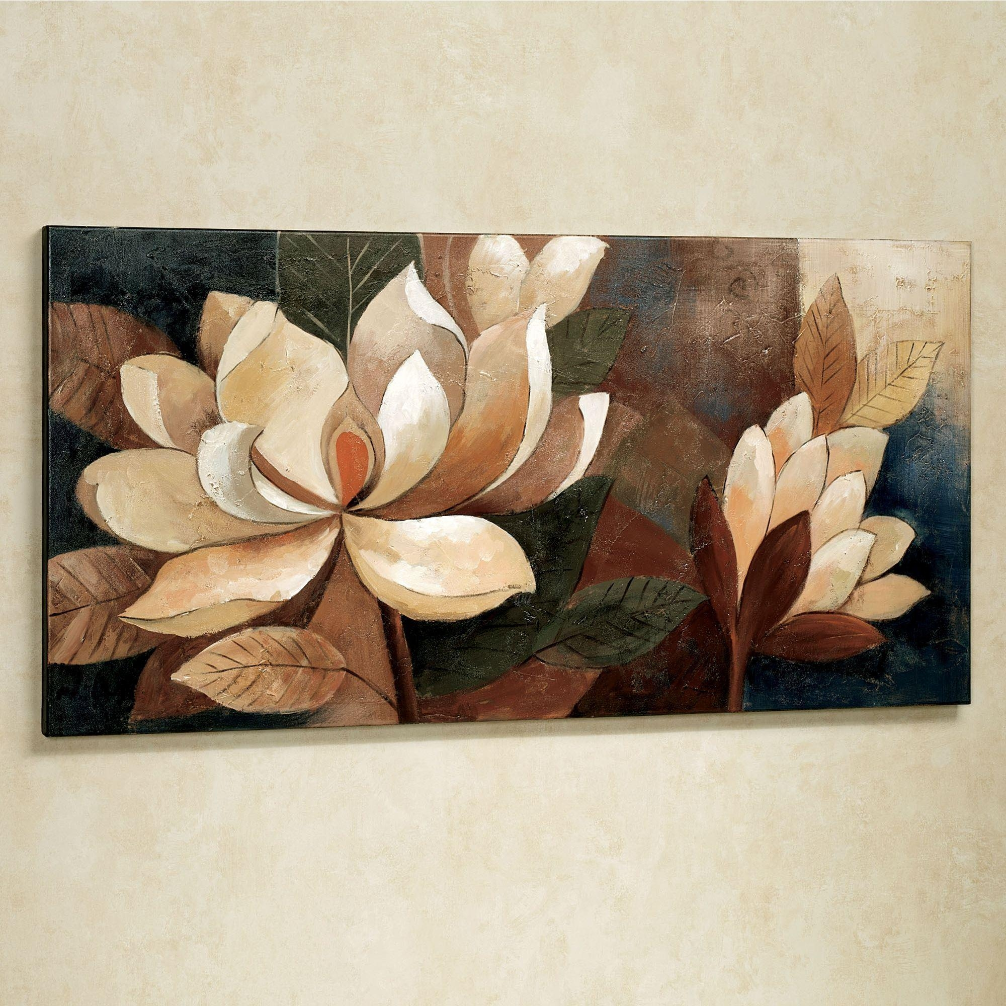 Magnolia Glow Floral Canvas Wall Art In Cream Metal Wall Art (View 7 of 20)