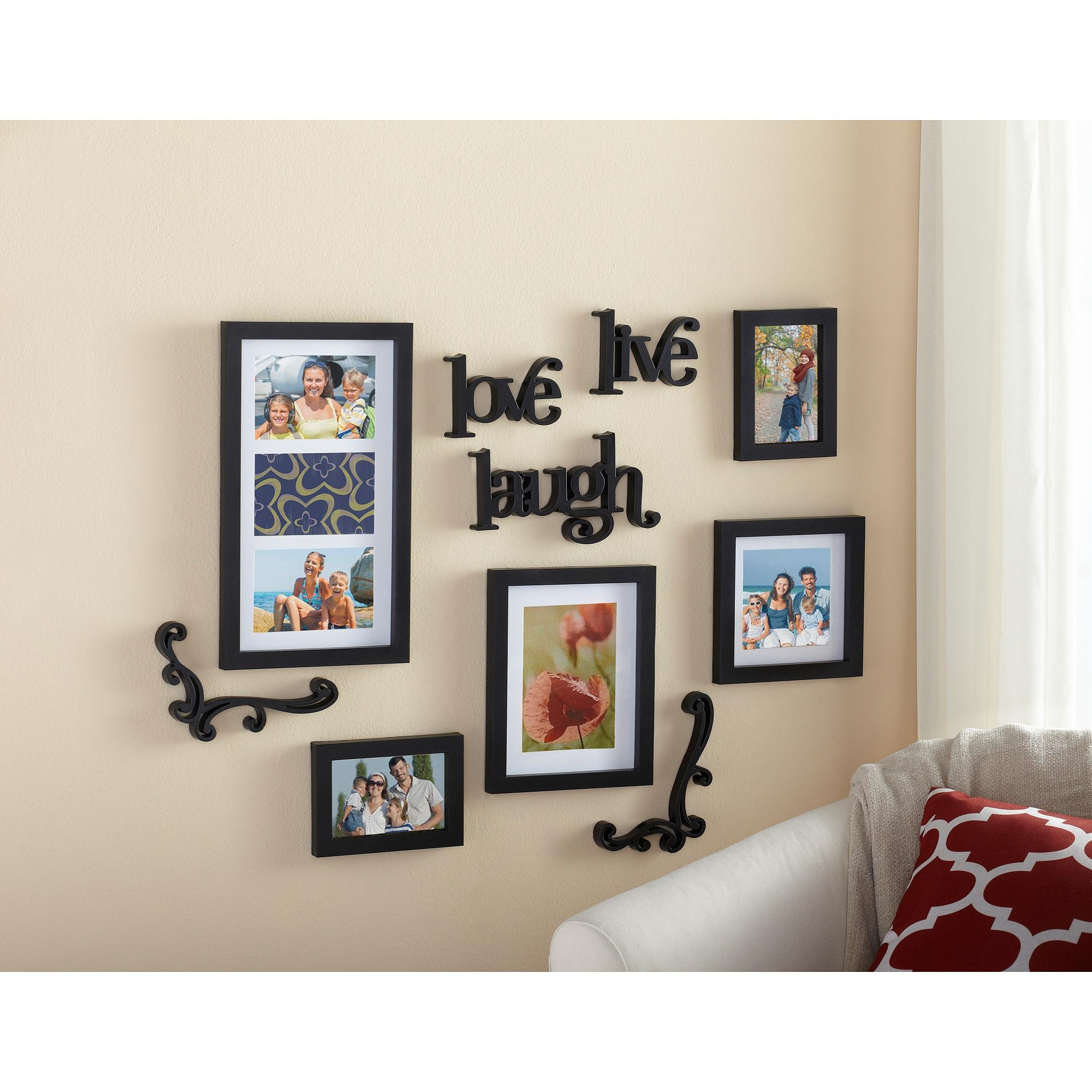 Mainstays 10 Piece Expressions Wall Frame Set – Walmart Throughout Walmart Metal Wall Art (Image 3 of 20)