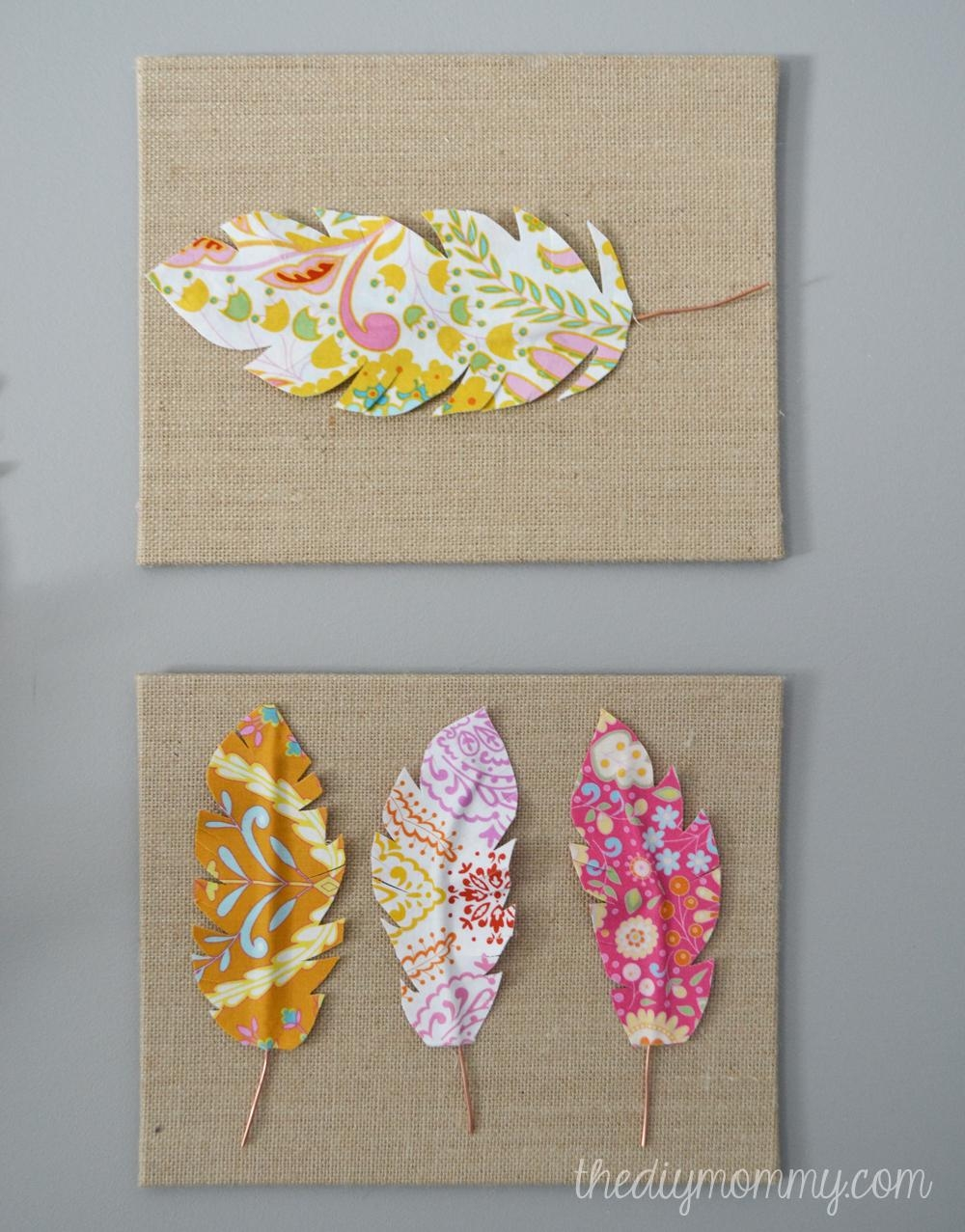 Make Fabric Feather Wall Art | The Diy Mommy Regarding Fabric Canvas Wall Art (Image 15 of 20)