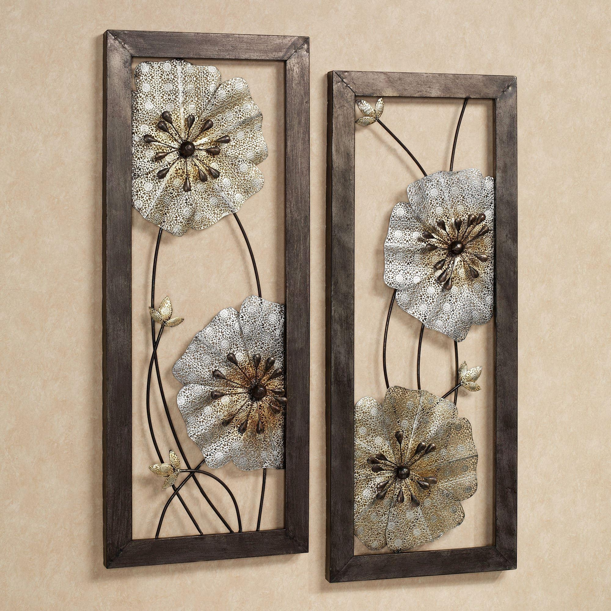 Malacia Openwork Floral Metal Wall Art Set In Rectangular Metal Wall Art (Image 12 of 20)
