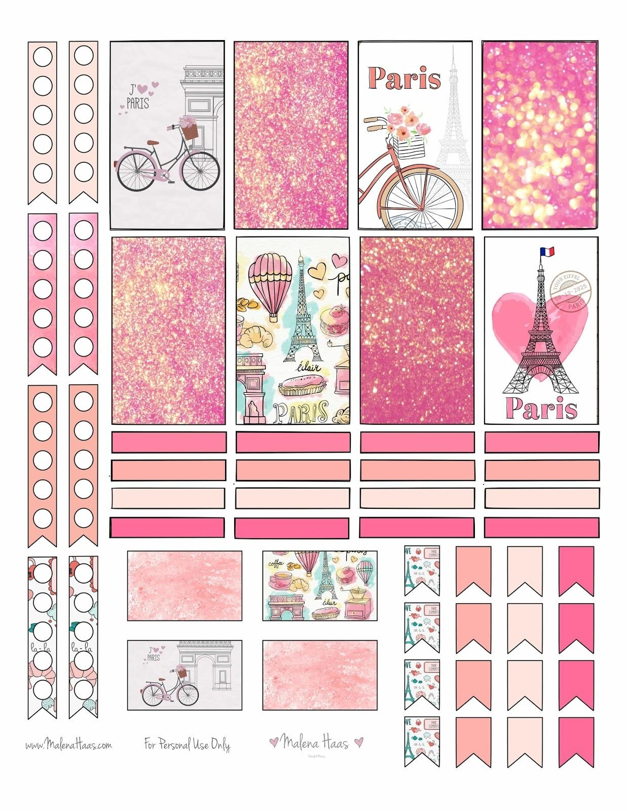 Malena Haas: ❤Freebie Friday❤ Paris Themed Planner Stickers Pertaining To Paris Themed Stickers (View 7 of 20)