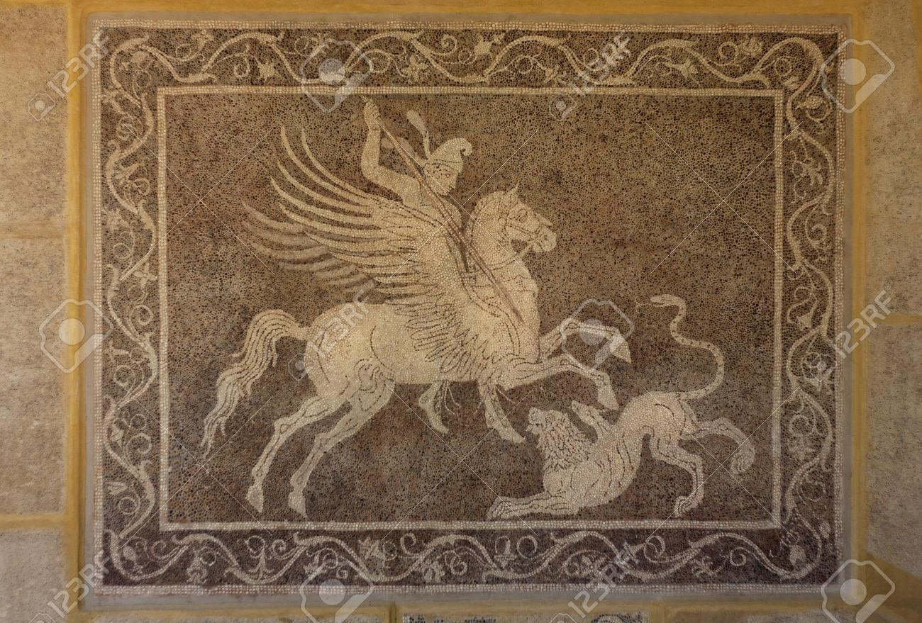 Man On Horse Pegasus Hunt Lion Of Greek Mosaic On Wall In Regarding Greek Wall Art (Image 11 of 20)