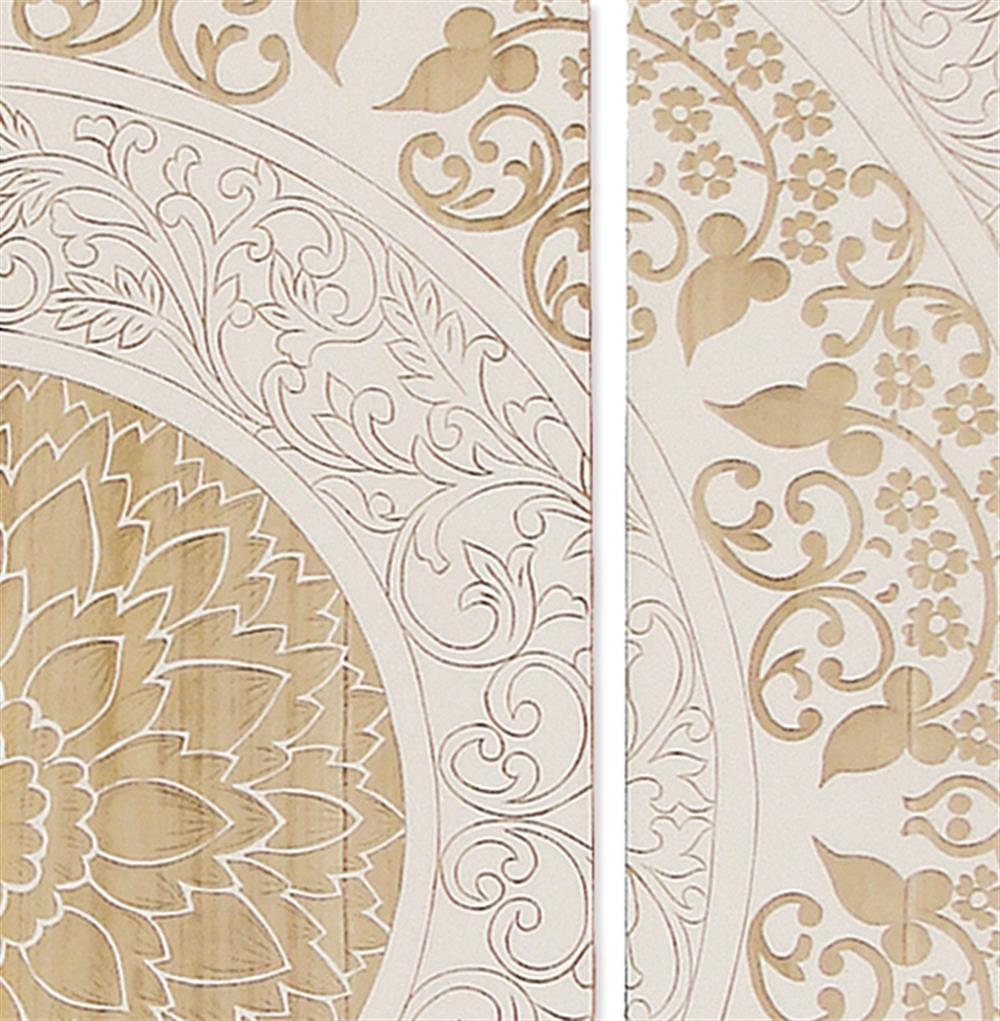 Mandala Global Bazaar White Wood Wall Mural Art | Kathy Kuo Home For White Wooden Wall Art (View 6 of 20)