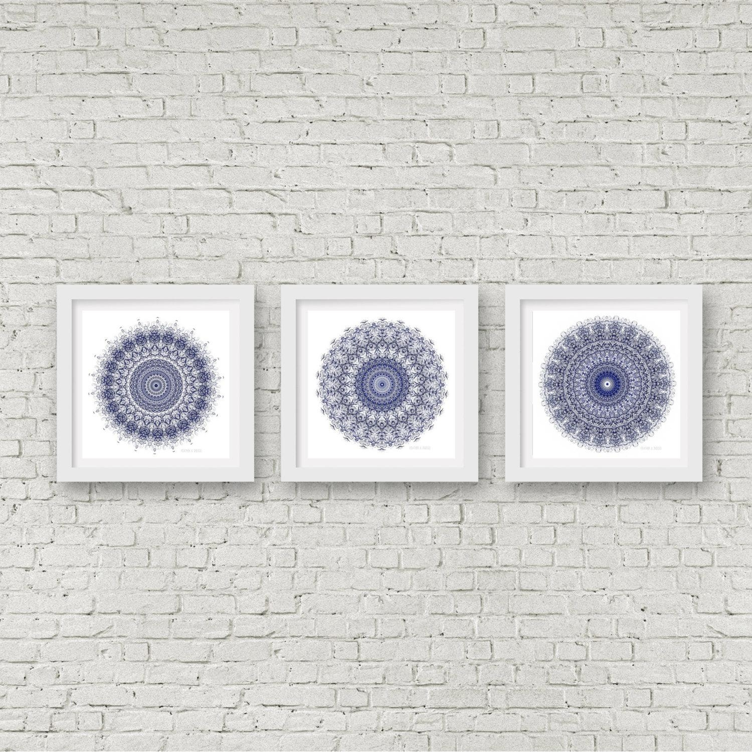 Mandala Wall Art Set Of 3 Matching Prints Navy Blue Wall Art Inside Matching Wall Art Set (Image 6 of 20)