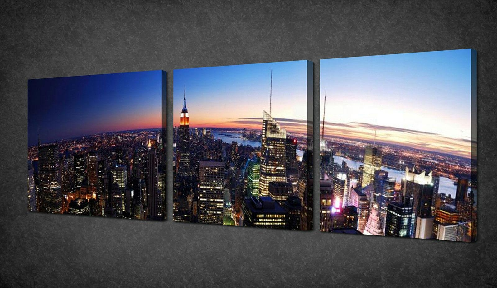 Manhattan Sunset New York 3 Panels Canvas Print Picture Wall Art Inside New York City Canvas Wall Art (View 12 of 20)