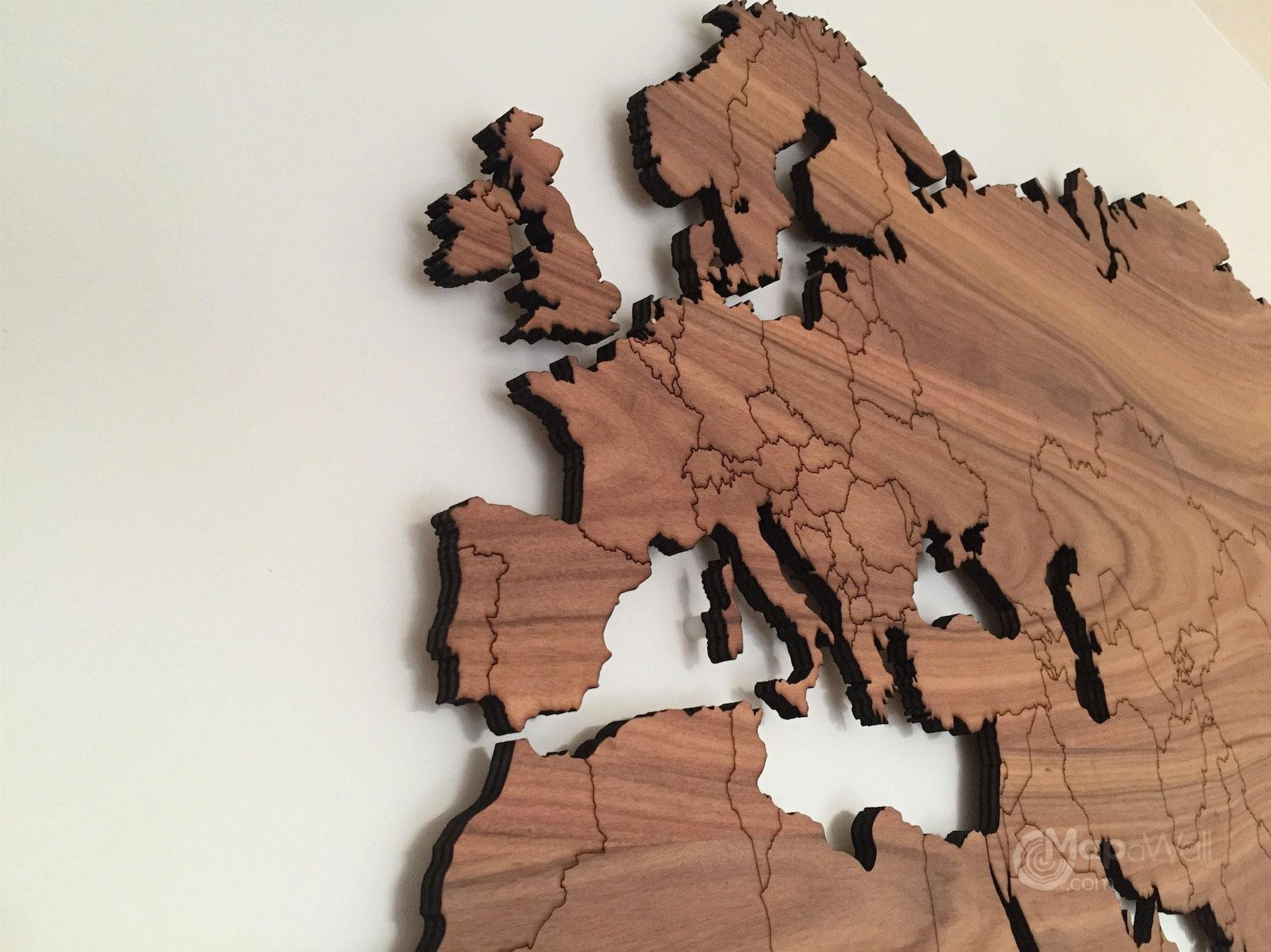 Mapawall Wooden World Map Palisander – Mapawall Throughout Wooden World Map Wall Art (Image 8 of 20)